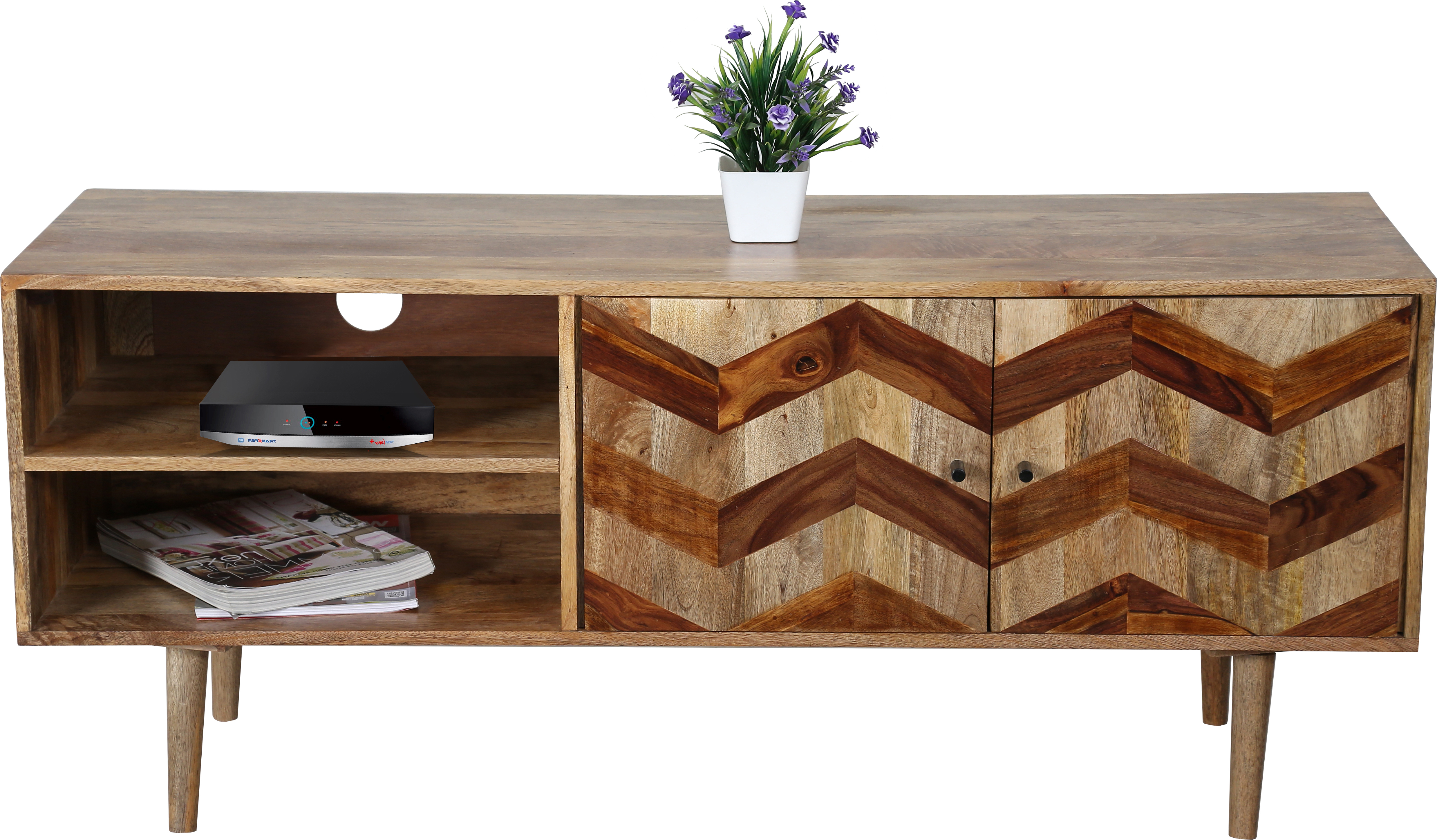 Well Known Zigzag Themed Tv Cabinet In Light Mango Wood With Wooden Legs With Wooden Tv Cabinets (View 10 of 20)