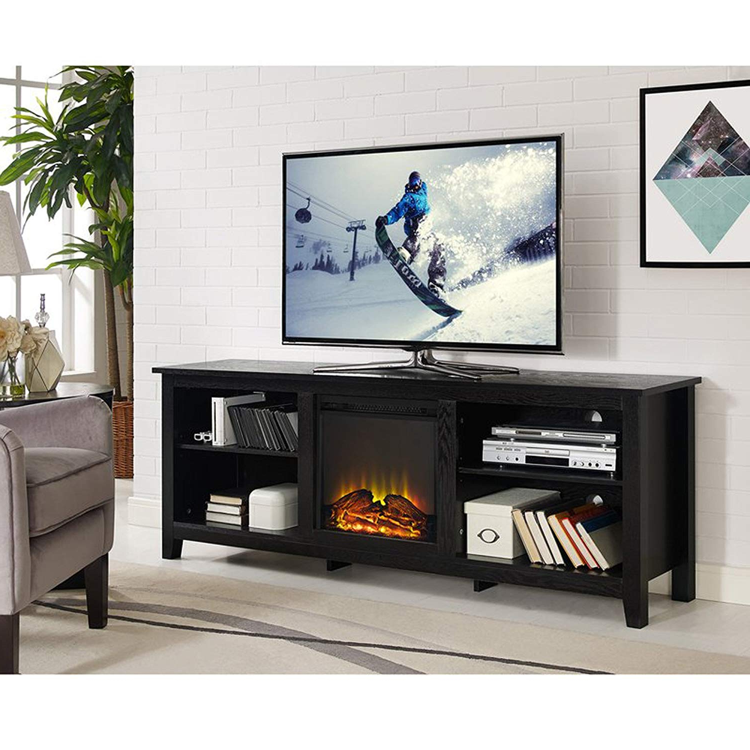 Well Liked Amazon: Electric Fireplace Tv Stand For Tvs Up To 70 Within Kilian Grey 74 Inch Tv Stands (Gallery 15 of 20)