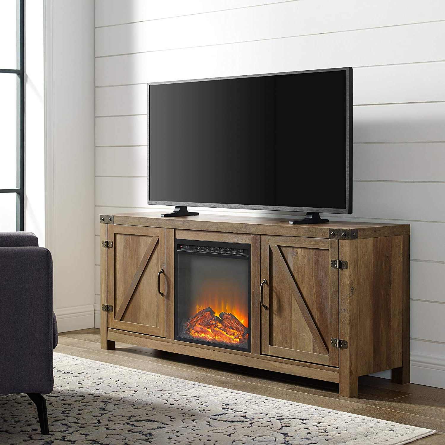 Well Liked Amazon: Home Accent Furnishings New 58 Inch Barn Door Fireplace For Kilian Grey 49 Inch Tv Stands (Gallery 3 of 20)