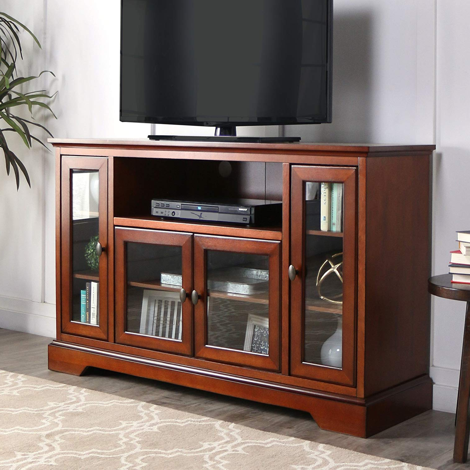 "Well Liked Amazon: We Furniture 52"" Wood Highboy Style Tall Tv Stand Inside Antique Style Tv Stands (View 18 of 20)"
