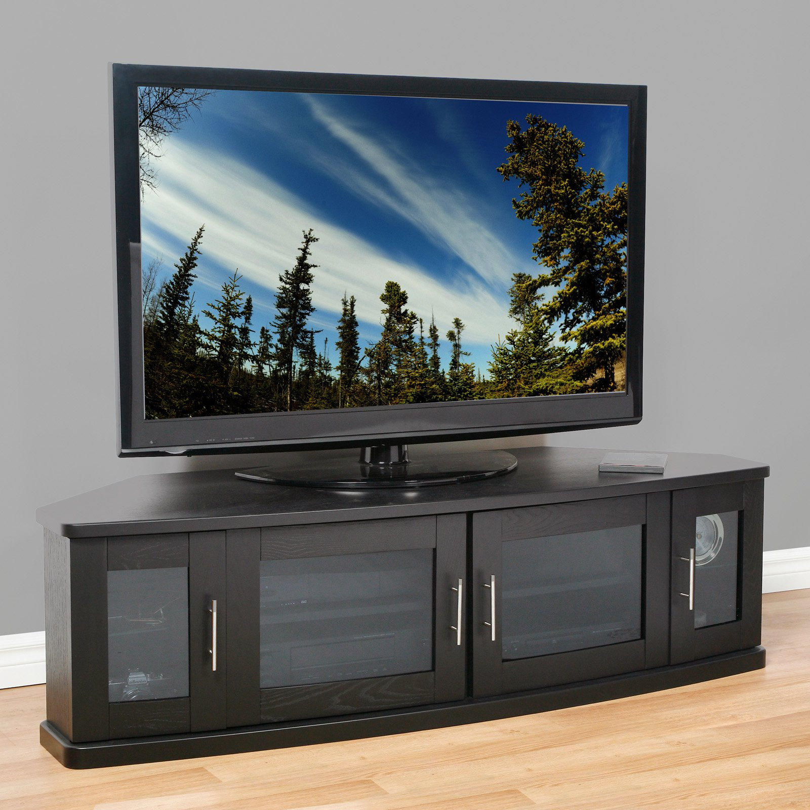 Well Liked Black Corner Tv Cabinets With Glass Doors Pertaining To Chrome Display Stands Clear Tv With Glass Shelves Stand Corner (View 3 of 20)