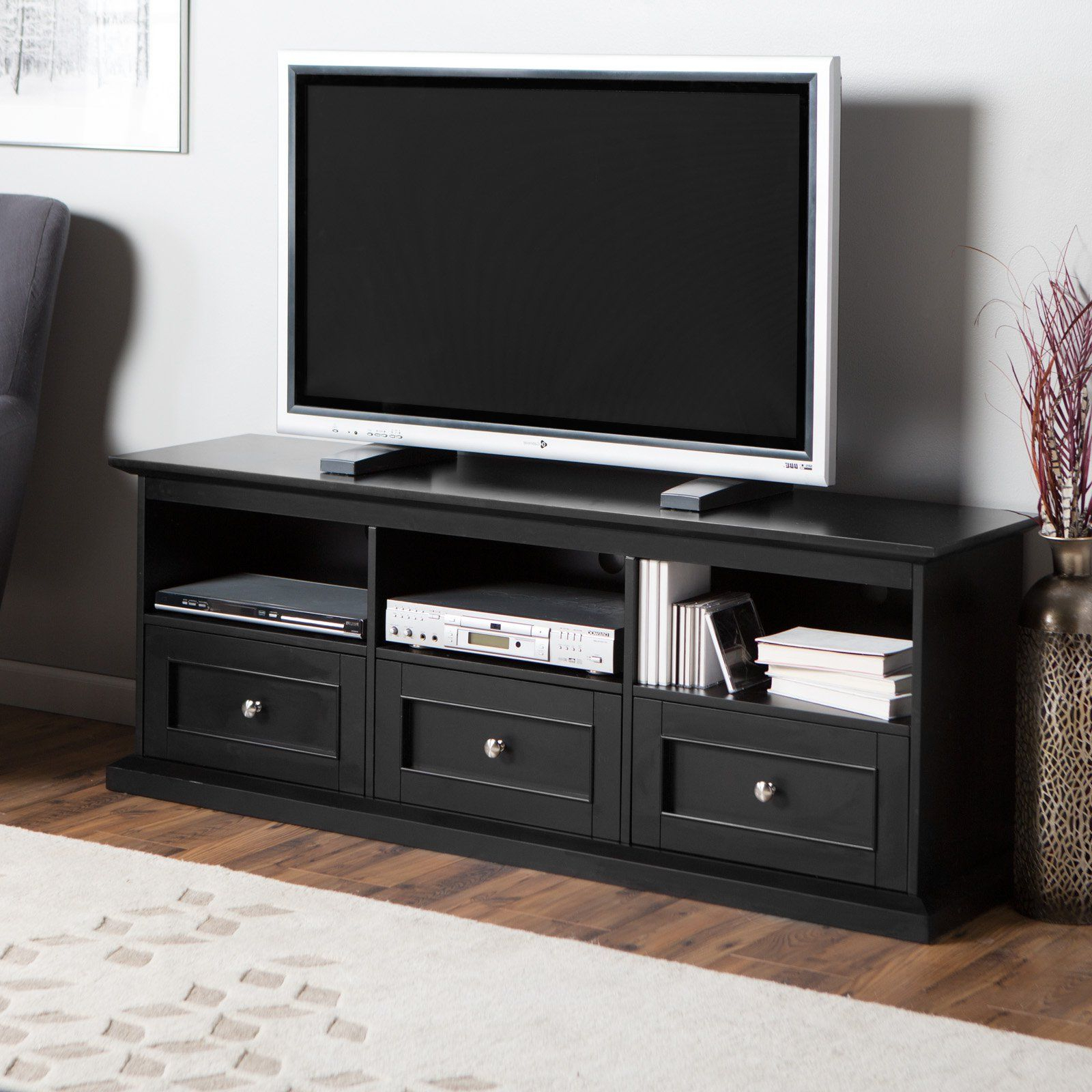 Well Liked Black Tv Cabinets With Drawers For Belham Living Hampton Tv Stand With Drawers – Black – Get The Casual (View 11 of 20)