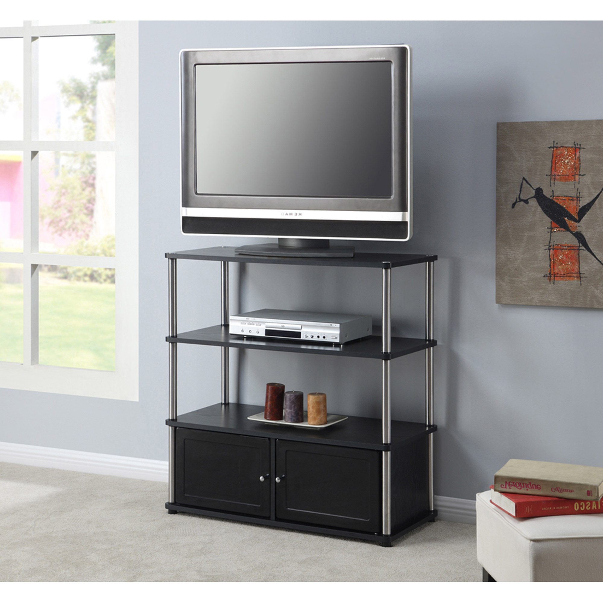 Well Liked Black Tv Stand 55 Inch Cabinet With Doors Kmart Stands Ikea Tall With Regard To Tall Narrow Tv Stands (View 9 of 20)