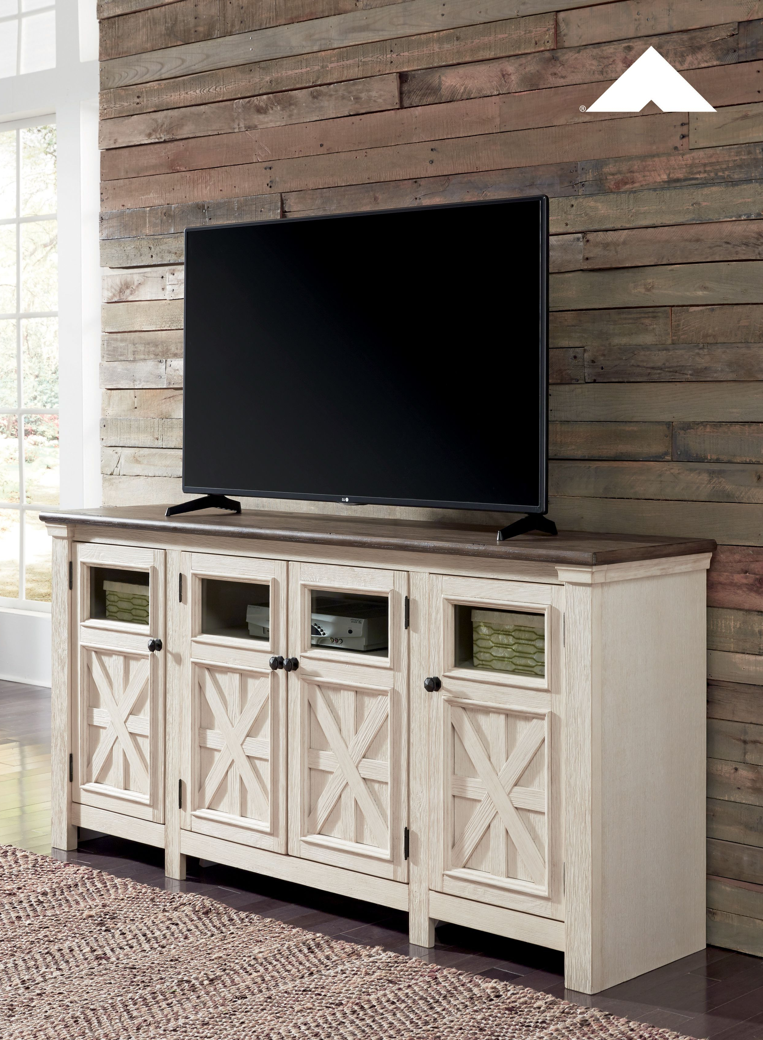 Well Liked Bolanburg Two Tone Antique White And Weathered Oak Extra Large Tv Pertaining To Willa 80 Inch Tv Stands (View 13 of 20)