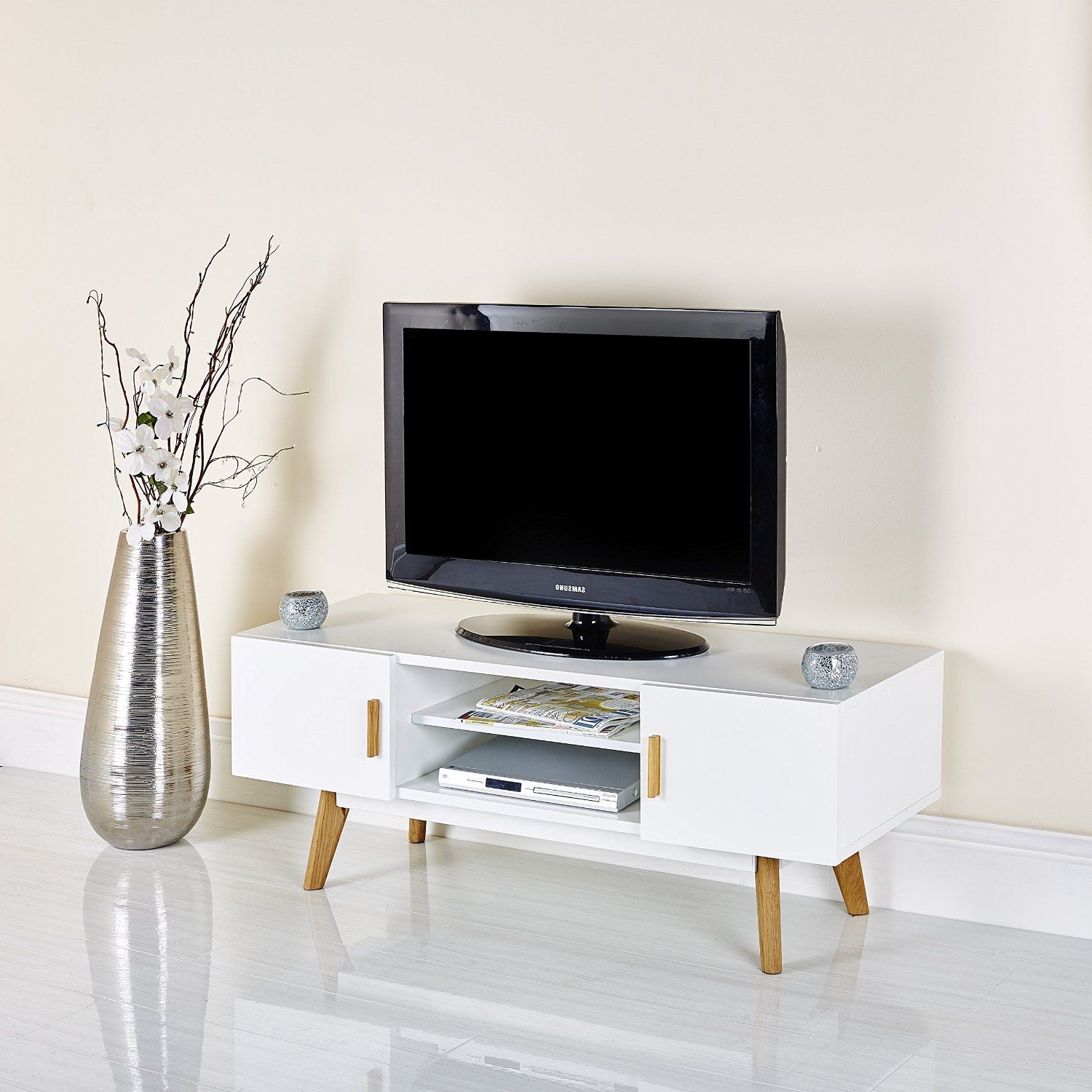 "Well Liked Cheap White Tv Stands Intended For Scandinavian White Retro Tv Stand For 32"" To 55"" Television (View 19 of 20)"
