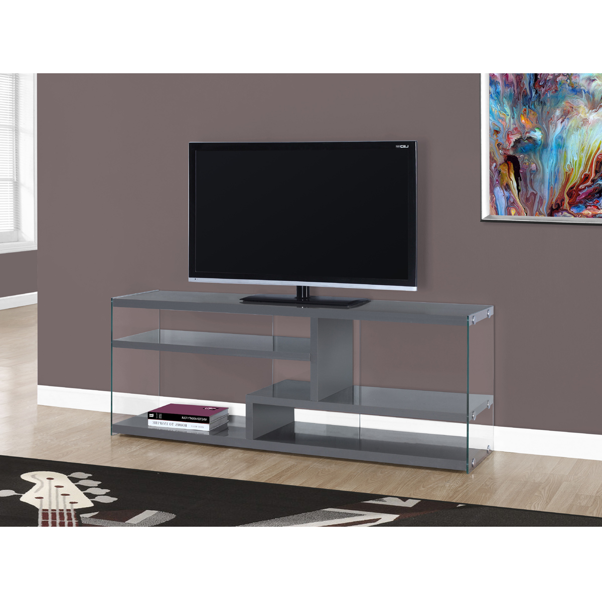 Well Liked Contemporary Tv Stands For Flat Screens With Regard To Vegas Tv Stand In Grey (View 18 of 20)