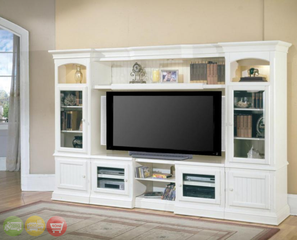 Well Liked Country Style Tv Cabinets Within Hartford 4 Piece Traditional Vintage White Wall Unit Tv (View 18 of 20)