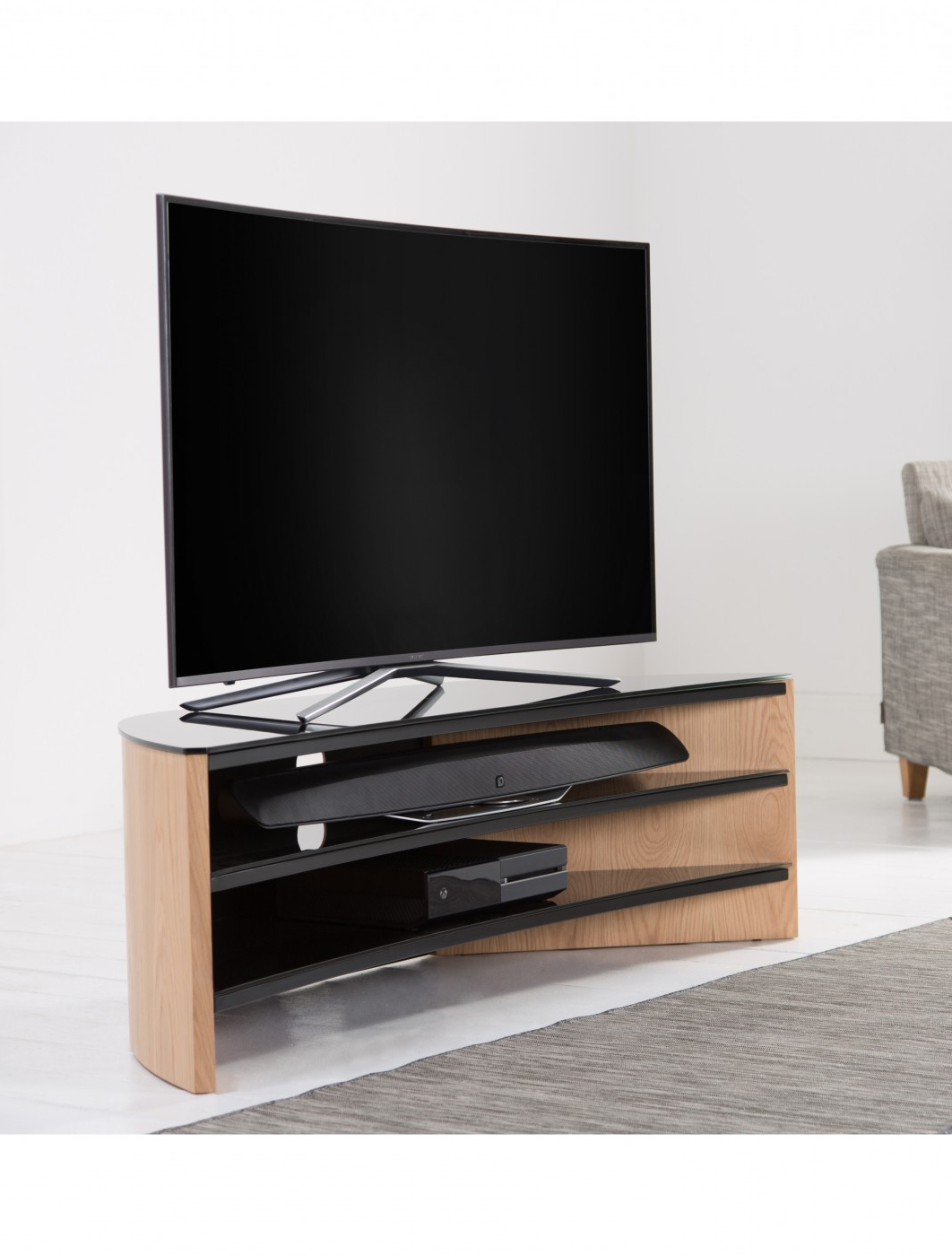 Well Liked Curve Tv Stands Within Alphason Finewoods Curve Tv Stand Fw1400C Lo (View 19 of 20)