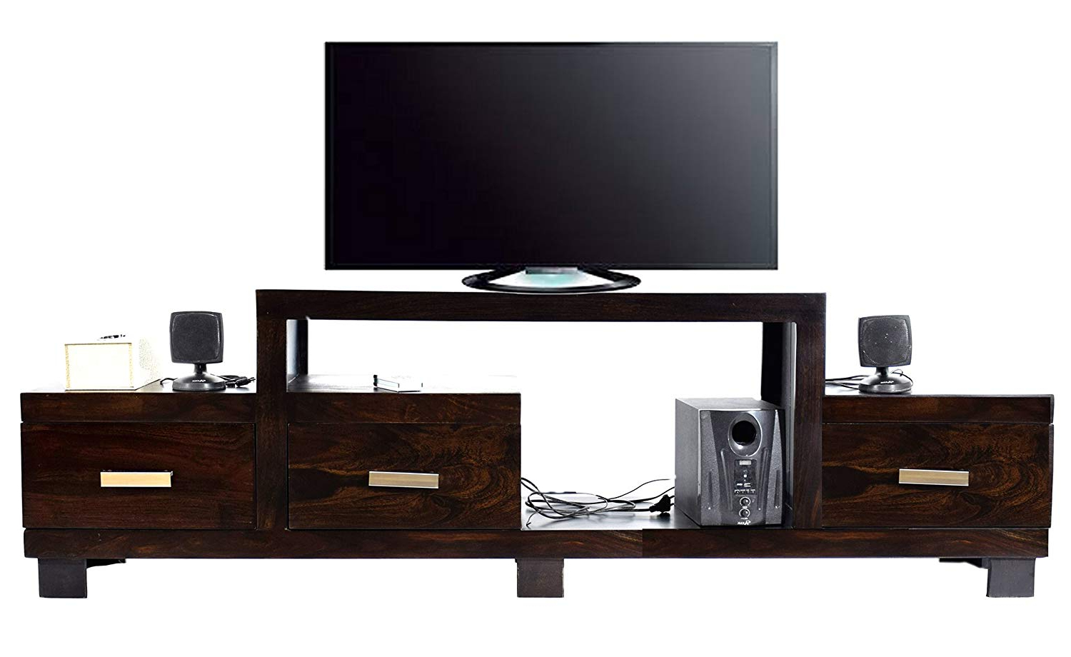 Well Liked Daintree Tv Stands With Regard To Daintree Timbertaste Sheesham Wood 1.75 Meter 3 Draw Newnadia Tv (Gallery 16 of 20)