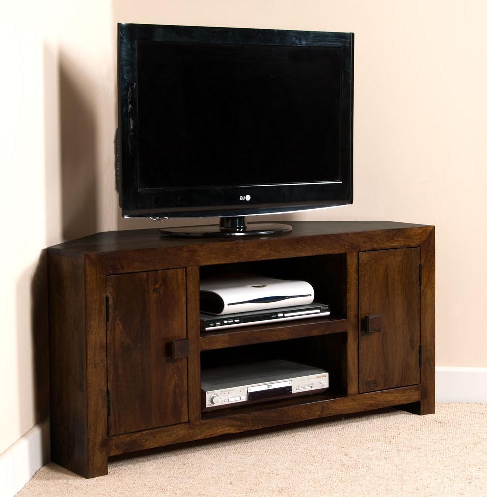 Well Liked Dark Wood Corner Tv Cabinets Regarding Dakota Dark Mango Large Corner Tv Unit (View 10 of 20)