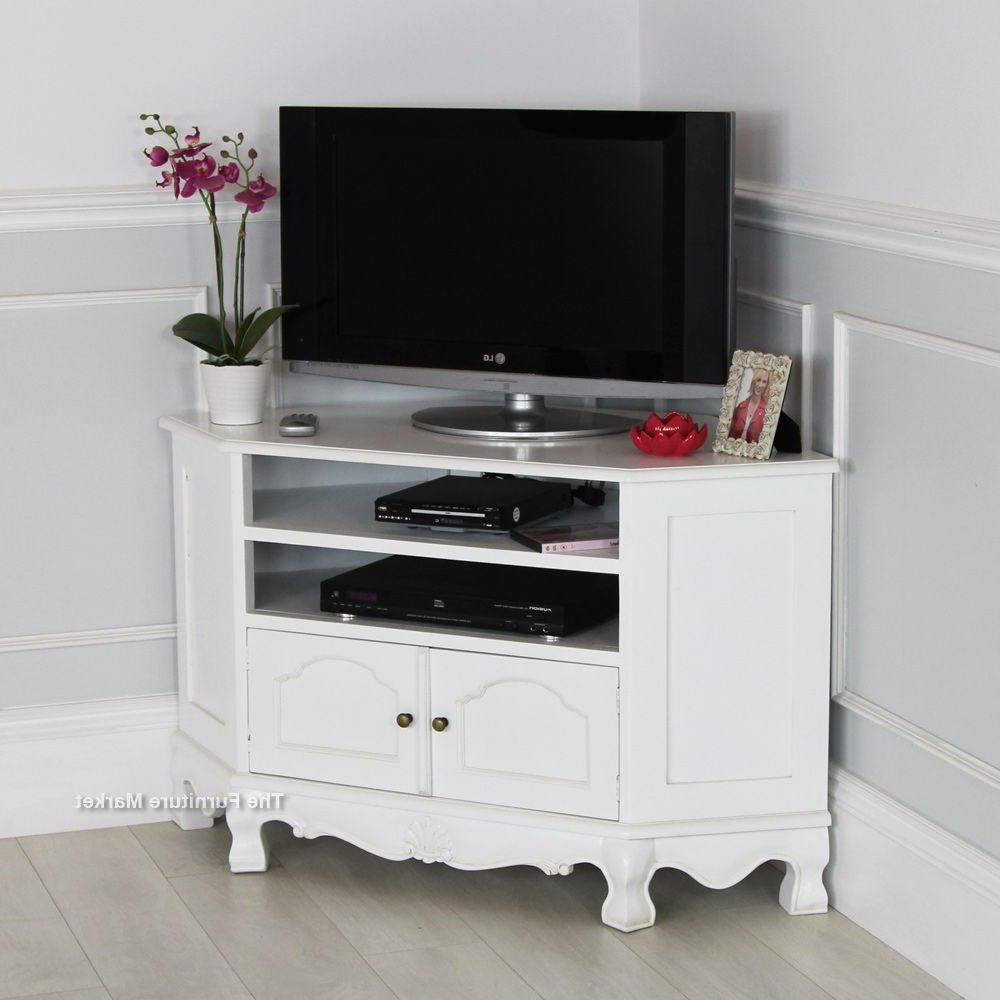 Well Liked French Chateau White Painted Carved Corner Tv Cabinet (View 20 of 20)