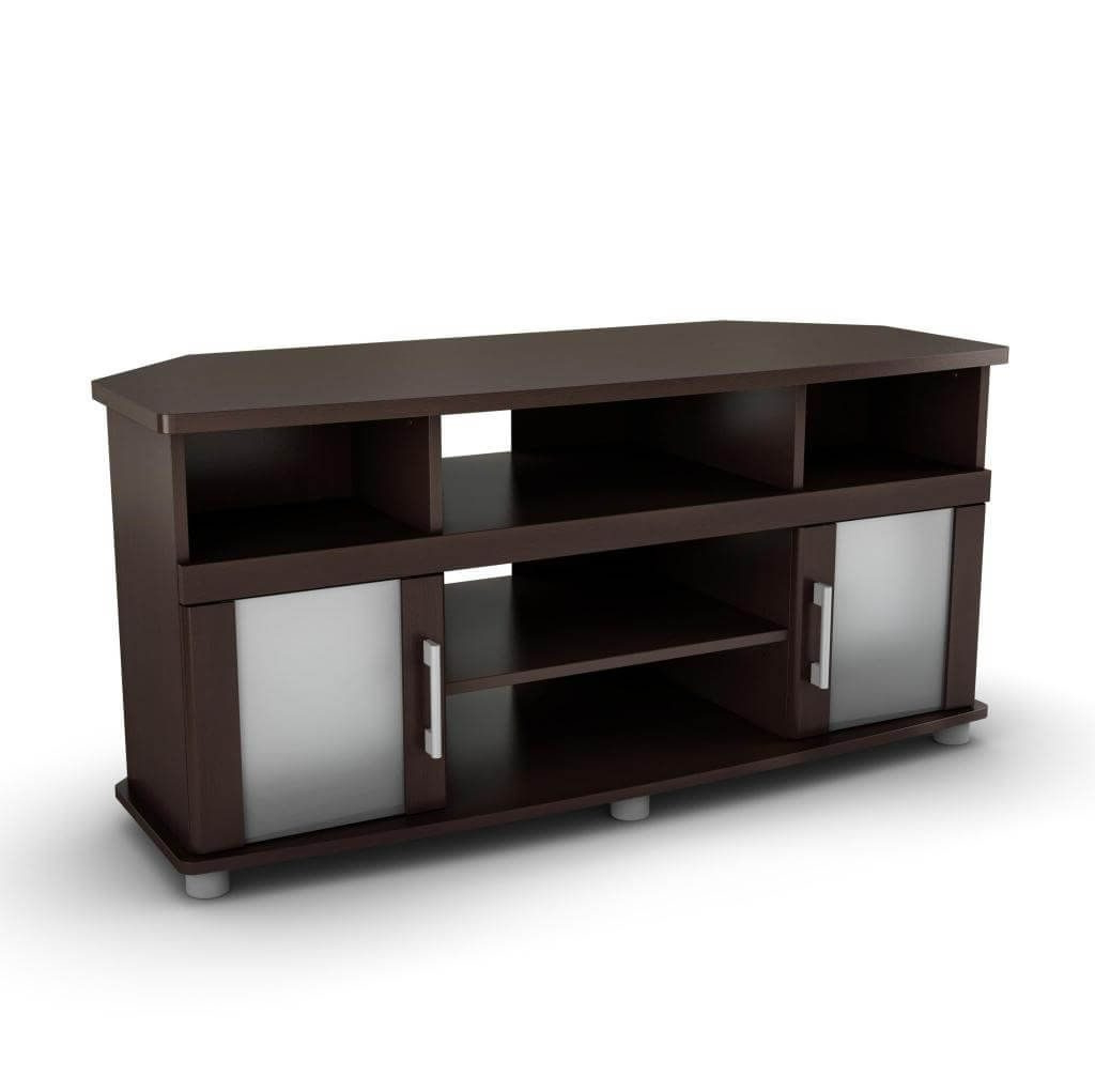 Well Liked Furniture: Interesting Dark Brown Corner Tv Stand With Double Frozen Regarding Corner Tv Cabinets With Glass Doors (View 11 of 20)