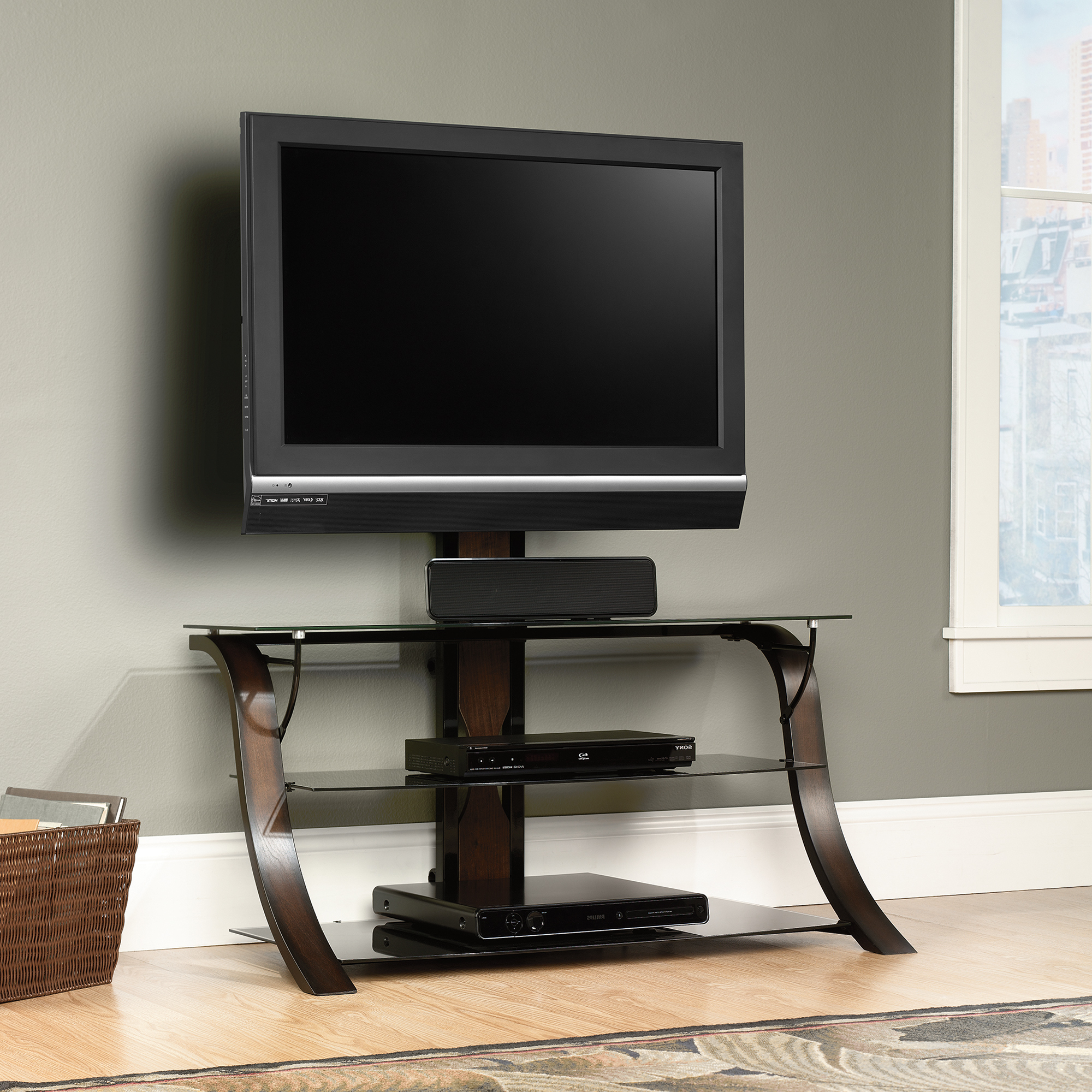 Well Liked Glass Tv Cabinets Intended For Sauder Select Veer  Mounted Tv Stand Cherry Finish (413906) – Sauder (View 20 of 20)