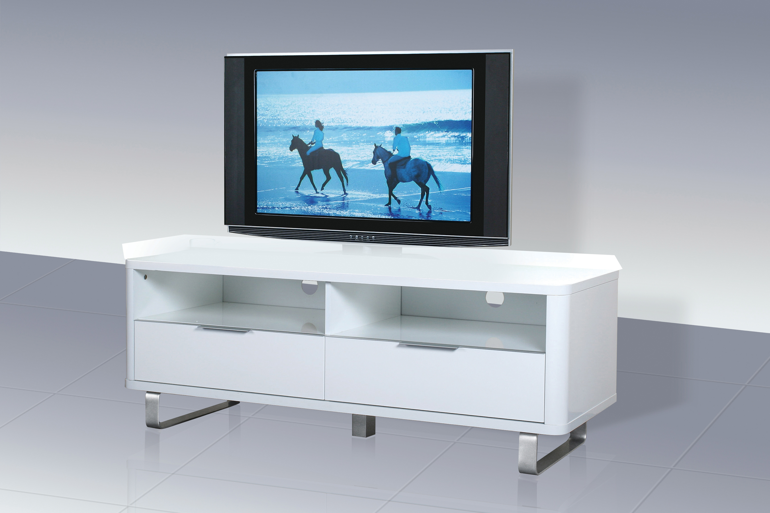 Well Liked High Gloss White Tv Cabinets Inside Accent Low Sideboard / Tv Unit – White High Gloss – Saint Décor (View 19 of 20)