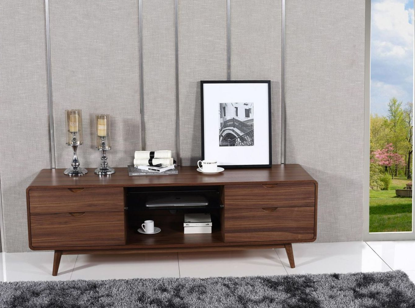 Well Liked Mid Century Style Walnut Finished Four Drawer Tv Stand Los Angeles Throughout Modern Walnut Tv Stands (View 16 of 20)