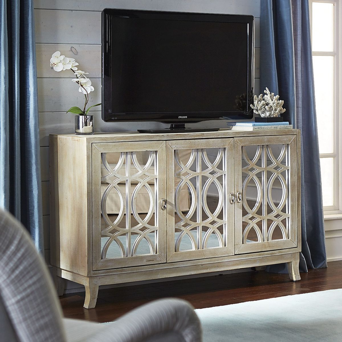 "Well Liked Mirella Mirrored Natural 54"" Tv Stand (View 20 of 20)"