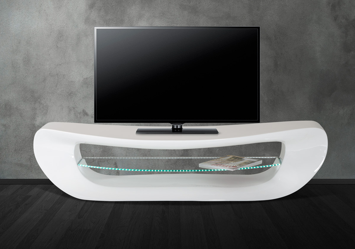 Well Liked Modern White Lacquer Tv Stands Pertaining To Crest Contemporary White Tv Stand (View 19 of 20)