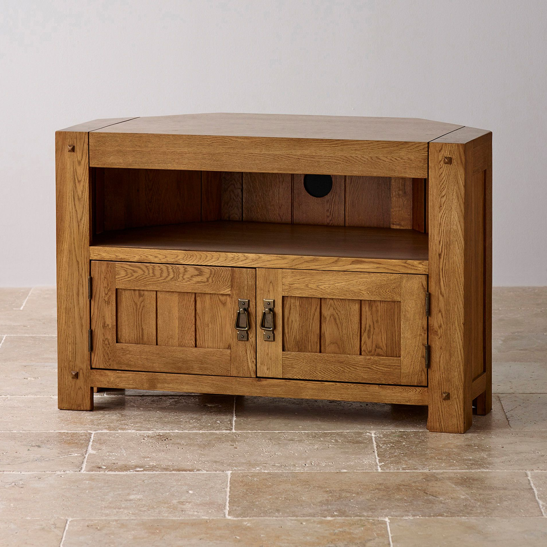 Well Liked Oak Tv Cabinets With Doors Intended For Quercus Solid Oak Corner Tv Cabinet (View 19 of 20)