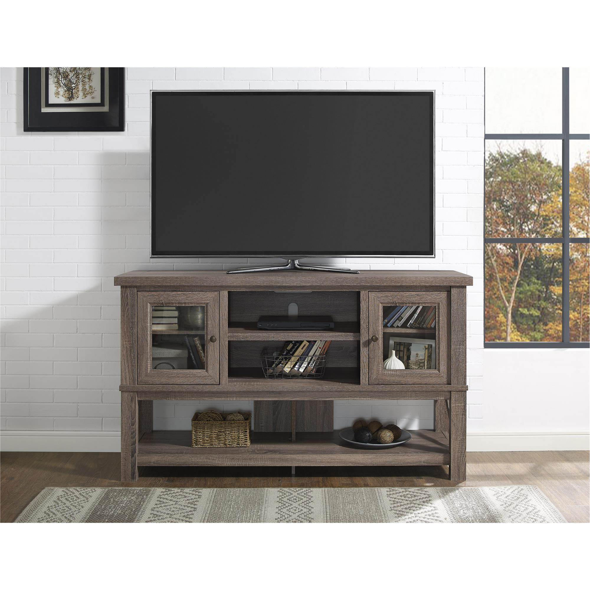 Well Liked Oak Tv Stands With Glass Doors For Shop Ameriwood Home Everett 70 Inch Sonoma Oak Tv Stand With Glass (Gallery 7 of 20)