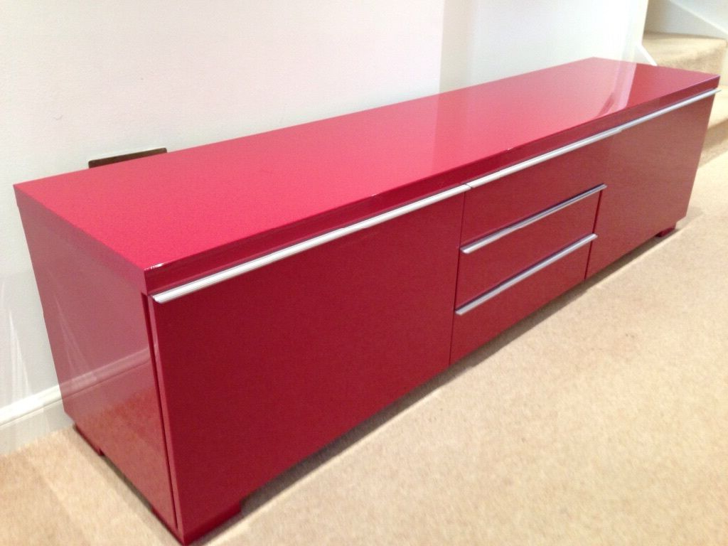 Well Liked Red Gloss Tv Cabinets Intended For Ikea Besta Burs High Gloss Red Tv Unit (View 18 of 20)