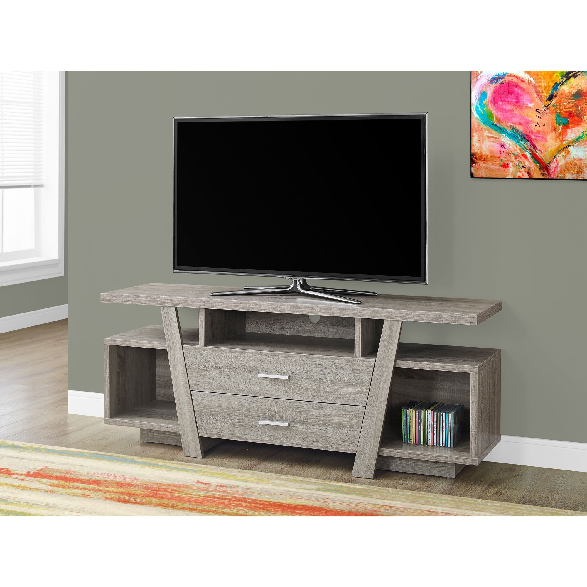 Well Liked Rowan 64 Inch Tv Stands Regarding 2 Drawer Dark Taupe 60 Inch Tv Stand (Tv Stand – 60L / Dark Taupe (View 11 of 20)