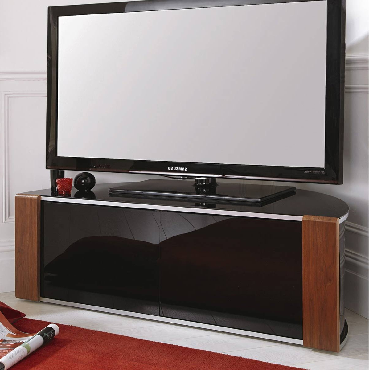 Well Liked Sirius 1200 Black And Walnut Corner Tv Cabinet Throughout Black High Gloss Corner Tv Unit (View 12 of 20)