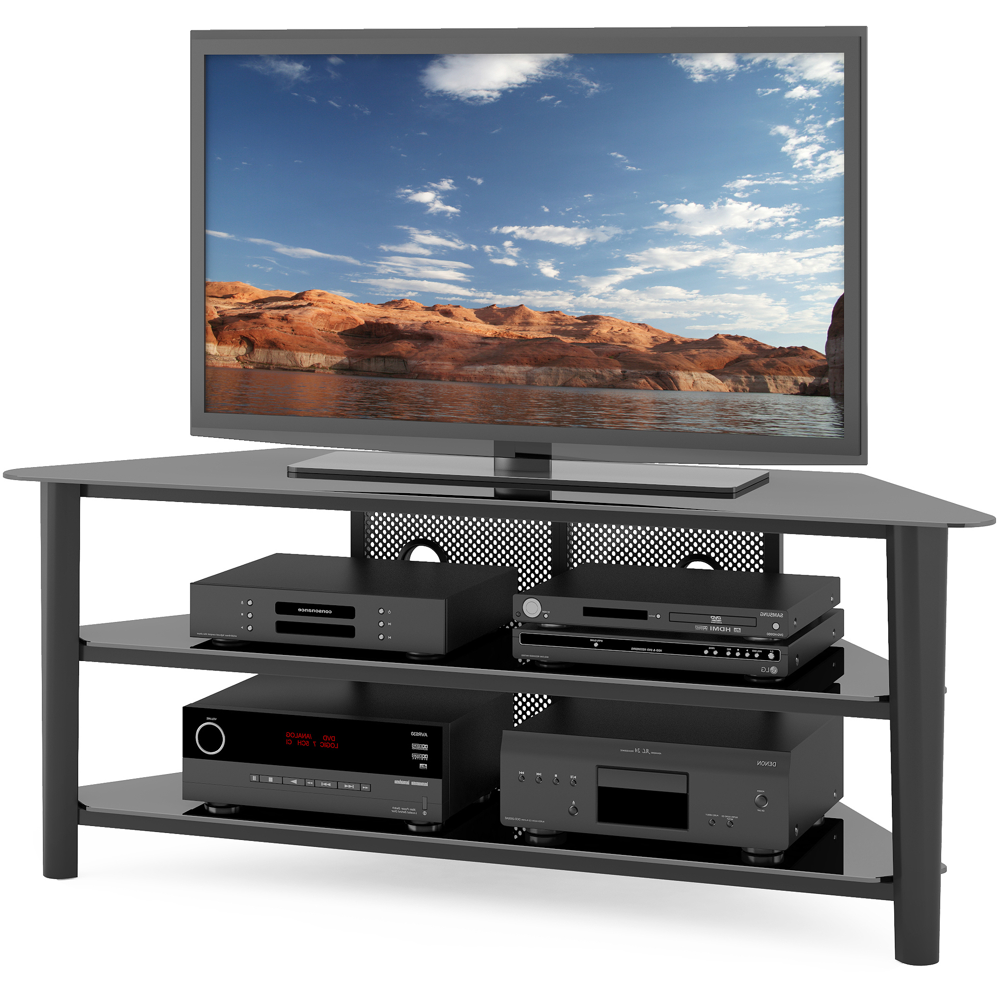 """Well Liked Tv Stand Rack For Tvs Up To 68"""" Wood Veneer Black Finish Center Home With Regard To Black Corner Tv Stands For Tvs Up To  (View 19 of 20)"""