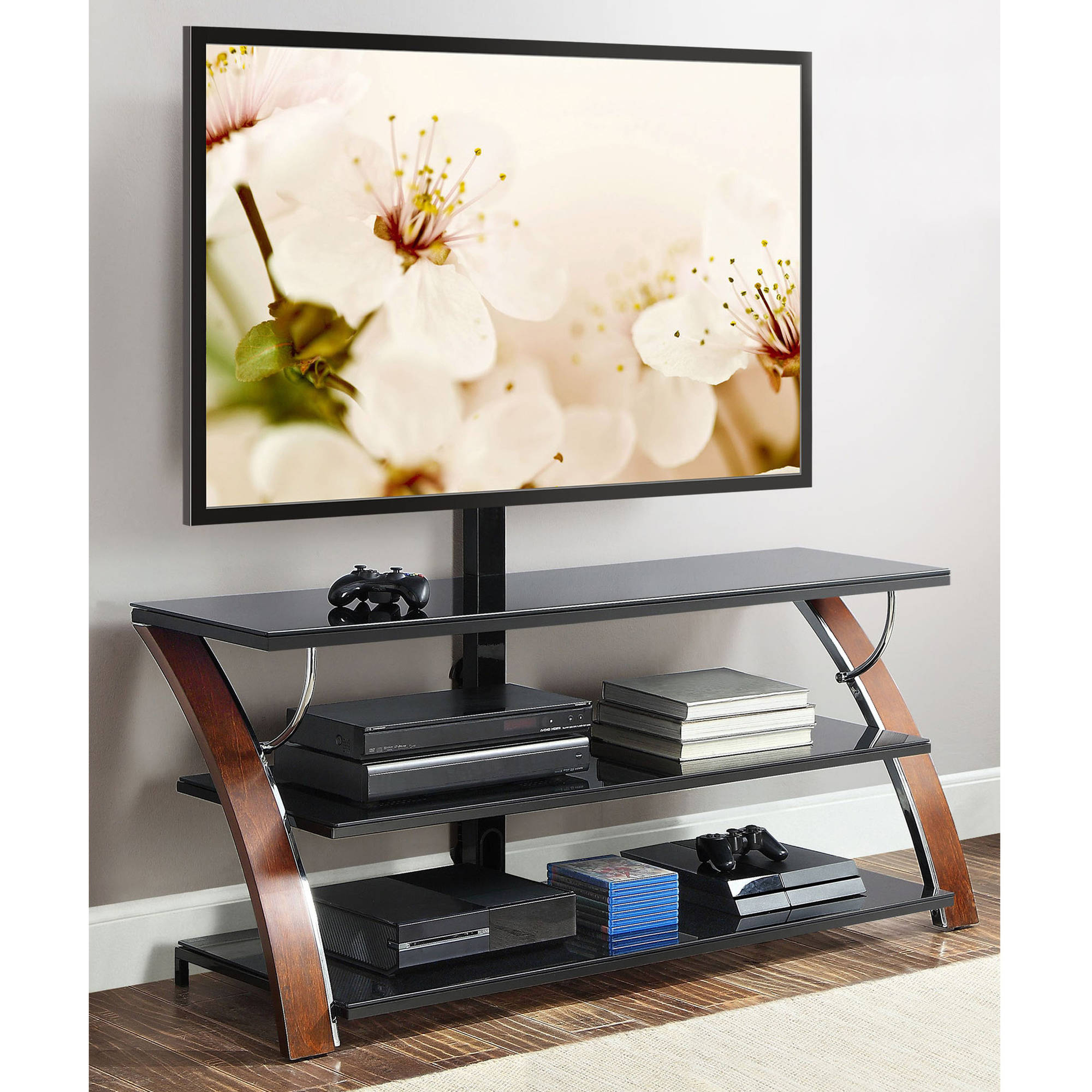 """Well Liked Unique Tv Stands For Flat Screens With Whalen Payton Brown Cherry 3 In 1 Flat Panel Tv Stand For Tvs Up To 65"""" – Walmart (View 16 of 20)"""