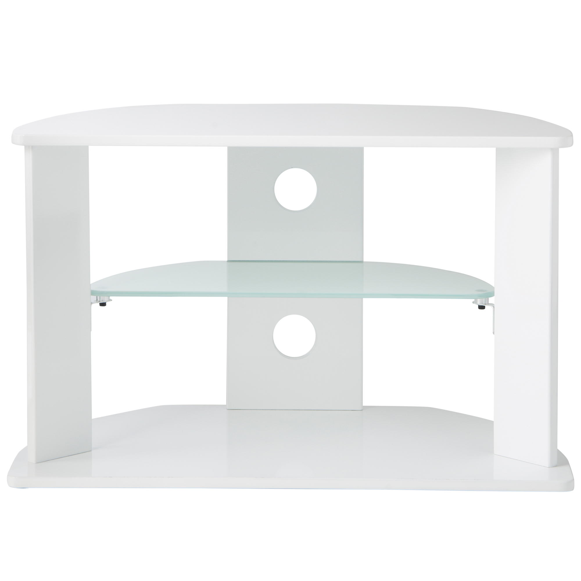 Well Liked Vonhaus High Gloss Mdf White Tv Stand With 3 Shelves For Tvs Up To Intended For Oval White Tv Stands (View 18 of 20)