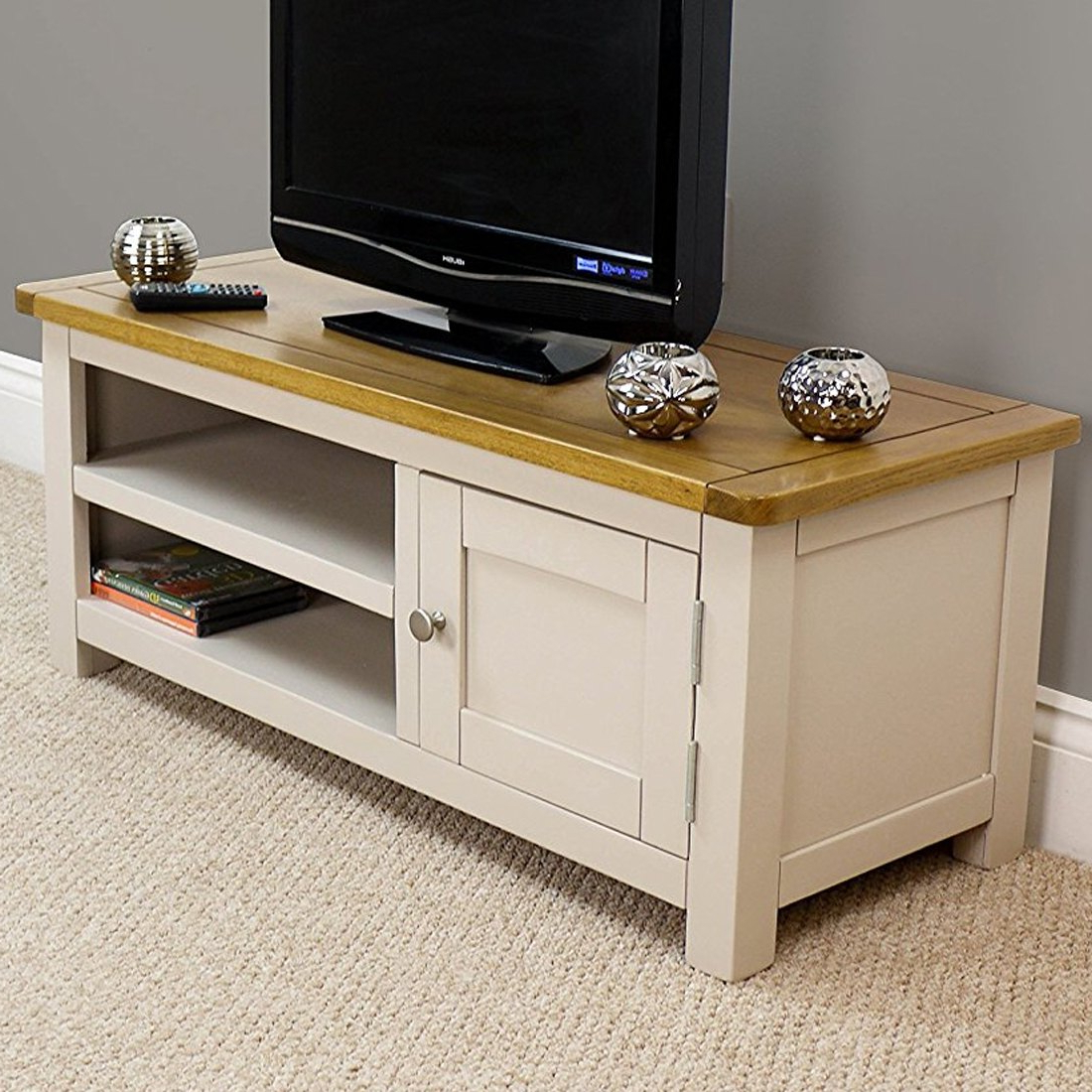 Wellington Oak Small Tv Unit / Painted Tv Stand / Grey With Solid Pertaining To Most Recently Released Painted Tv Stands (View 19 of 20)