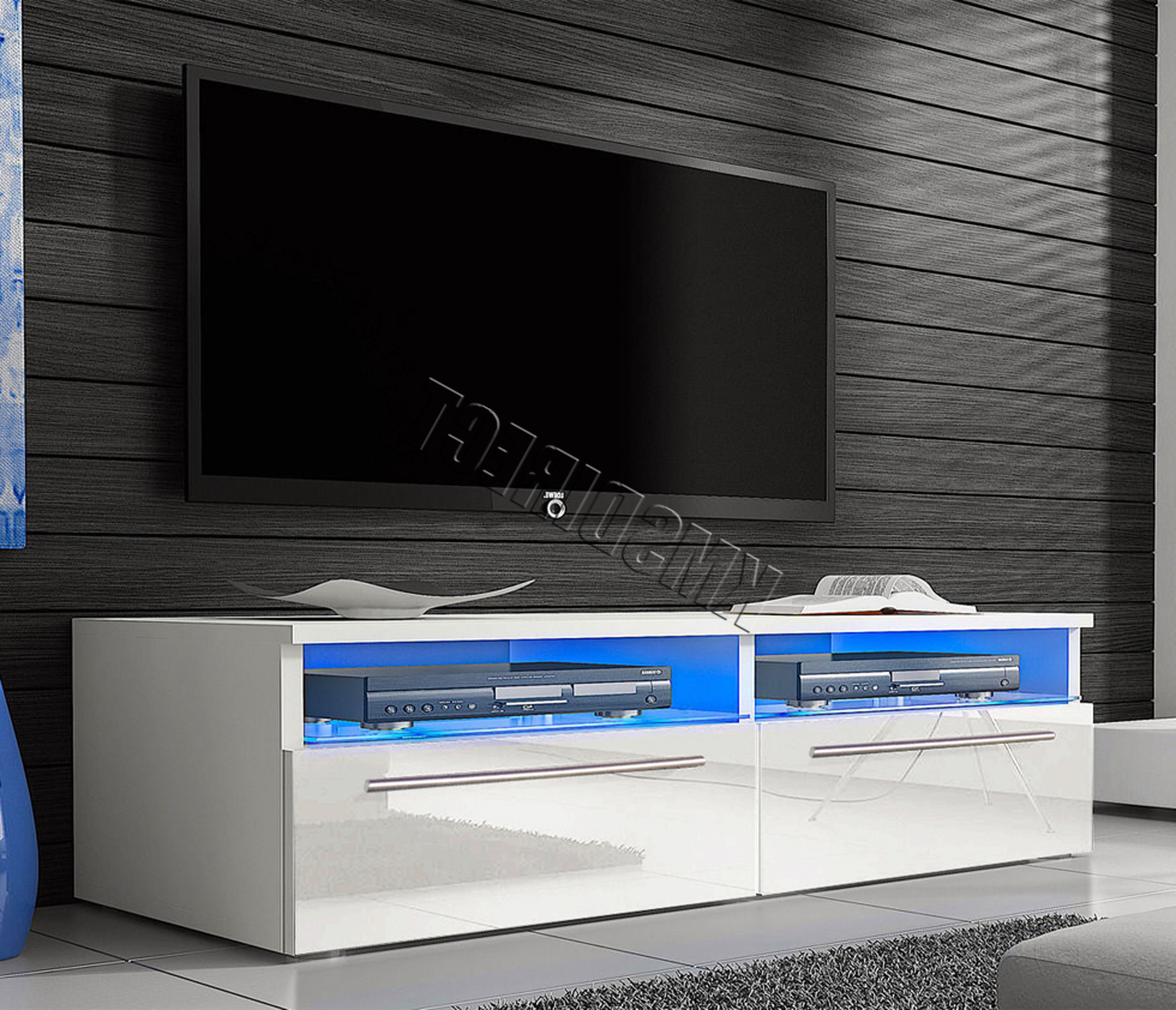 Westwood Modern Led Tv Unit Stand Cabinet – High Gloss Doors Matte For Well Known High Gloss White Tv Cabinets (View 17 of 20)