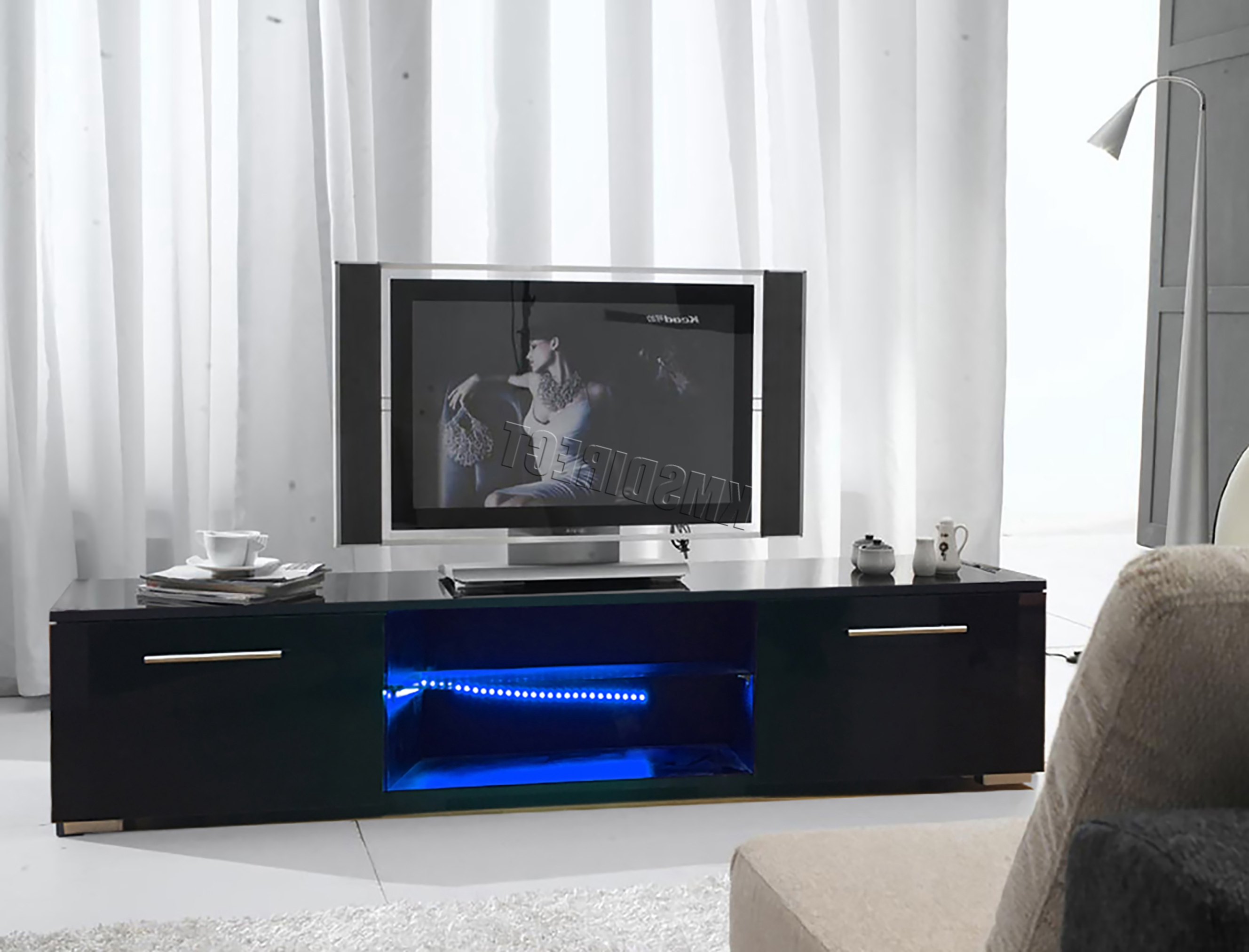 Westwood Modern Led Tv Unit Stand Cabinet – High Gloss Doors Matte In Famous Black Gloss Tv Stands (View 19 of 20)
