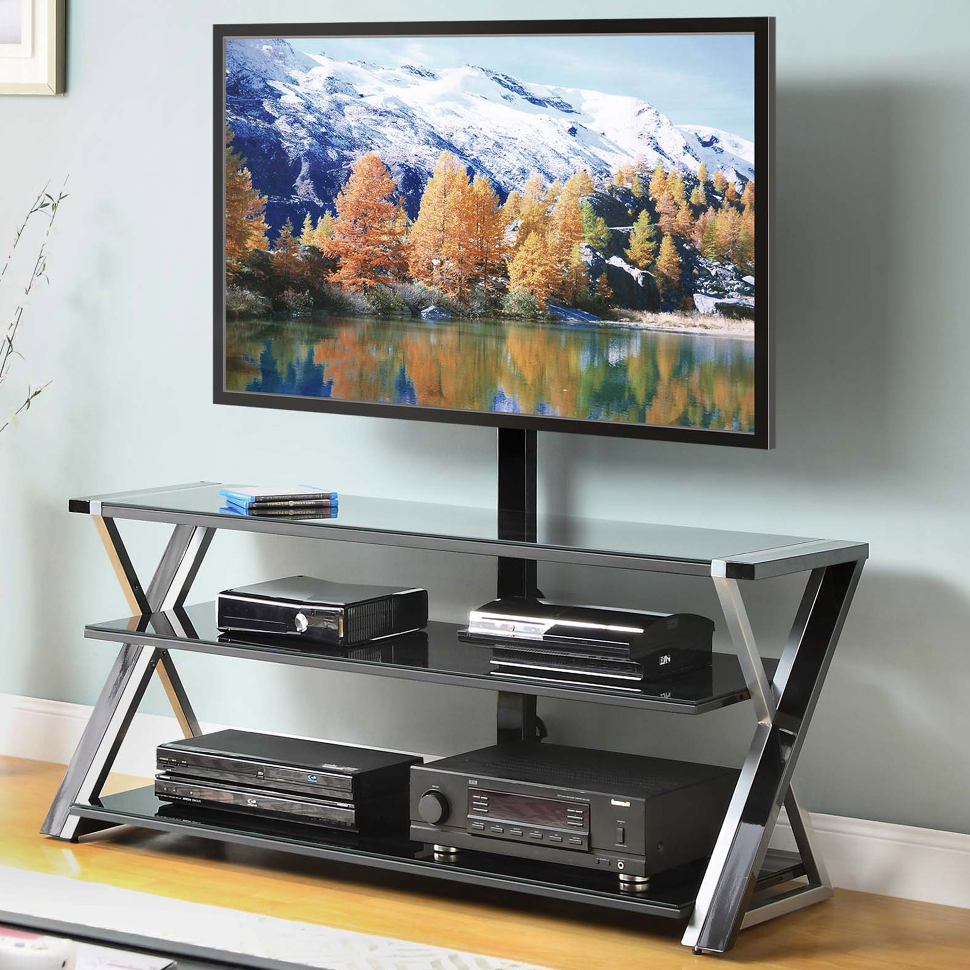 """Whalen 3 In 1 Black Tv Console For Tvs Up To 70"""", Black Glass Regarding Newest Jaxon 71 Inch Tv Stands (View 7 of 20)"""