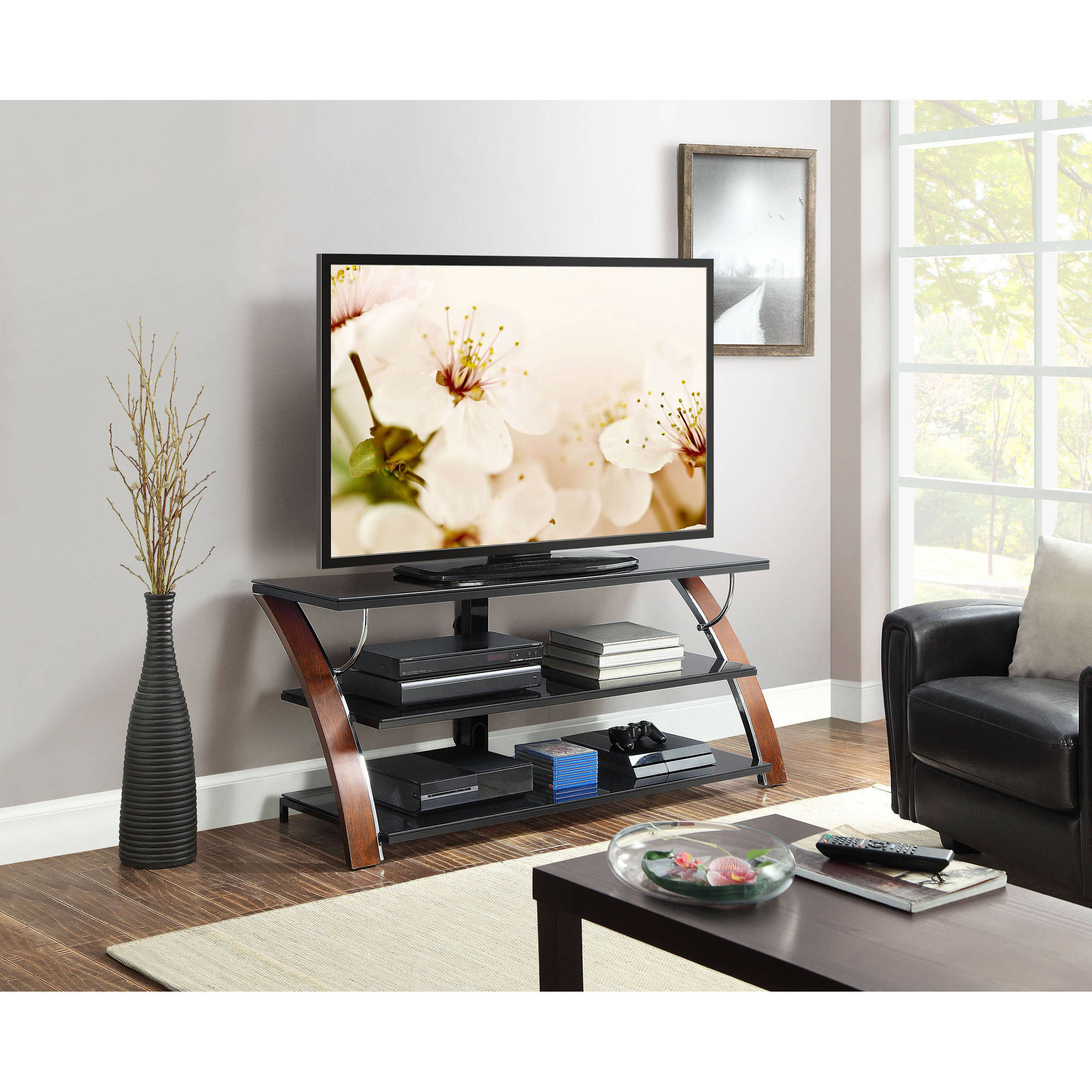 Whalen Payton Brown Cherry 3 In 1 Flat Panel Tv Stand For Tvs Up To For Best And Newest Modern Glass Tv Stands (View 18 of 20)