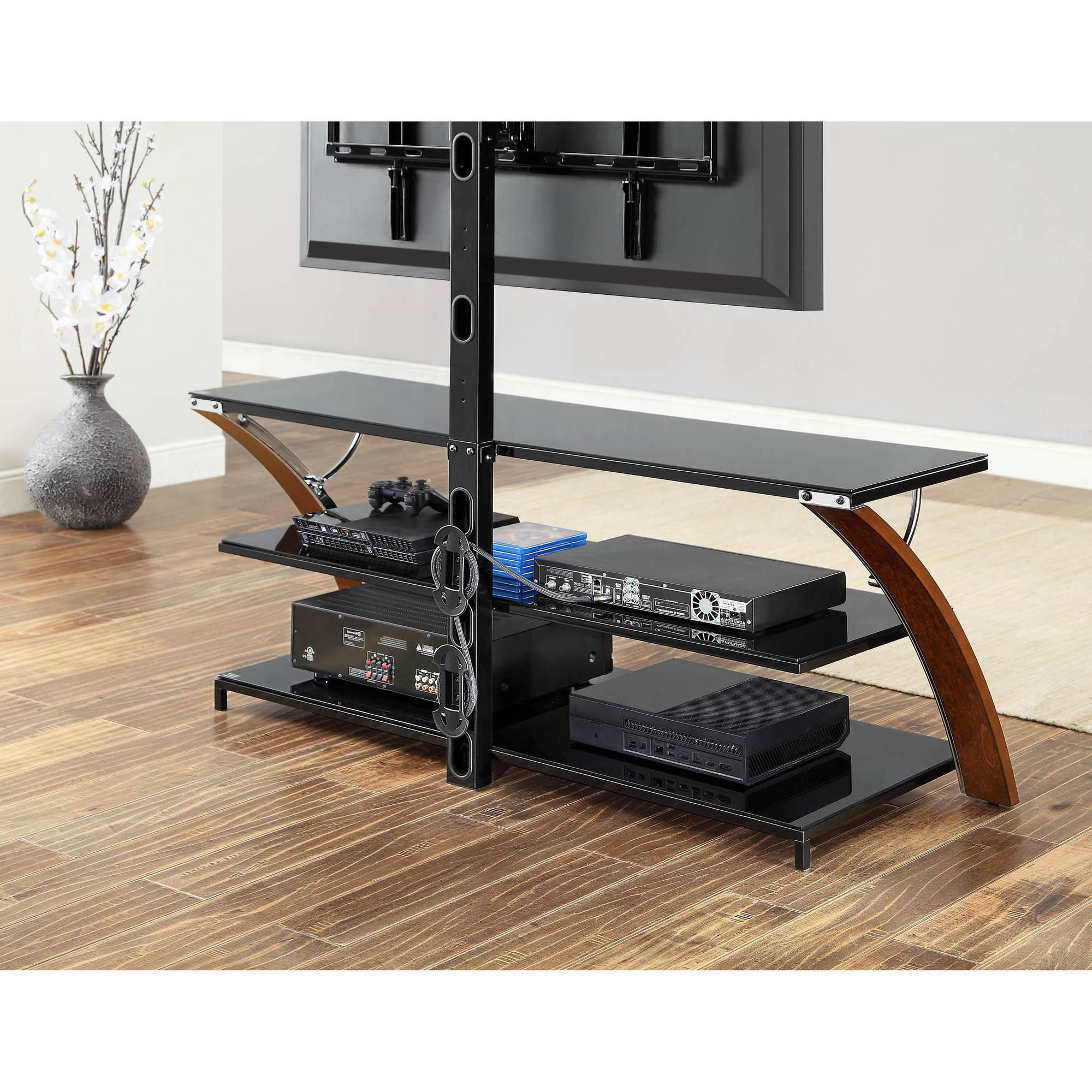 Whalen Payton Brown Cherry 3 In 1 Flat Panel Tv Stand For Tvs Up To With Regard To 2017 Jaxon 71 Inch Tv Stands (View 16 of 20)