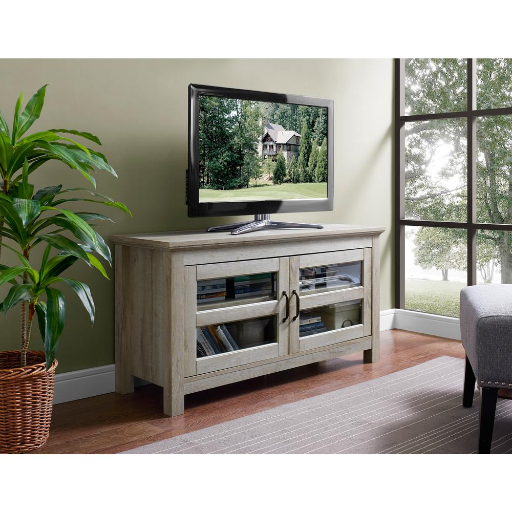 White And Wood Tv Stands Pertaining To Most Up To Date Walker Edison Furniture Company 44 In (View 5 of 20)