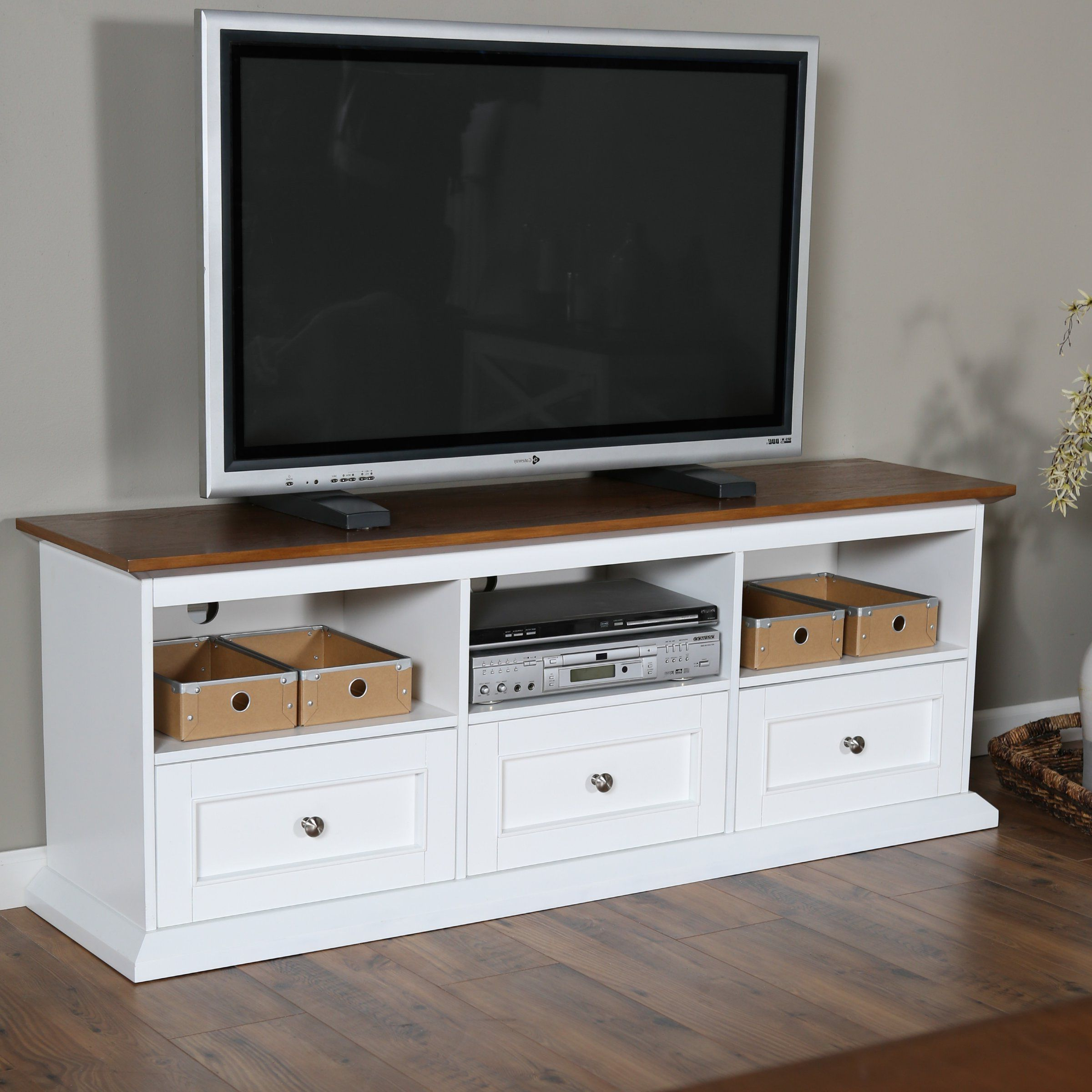 White And Wood Tv Stands Regarding Trendy Belham Living Hampton Tv Stand With Drawers – White/oak – Tv Stands (View 2 of 20)