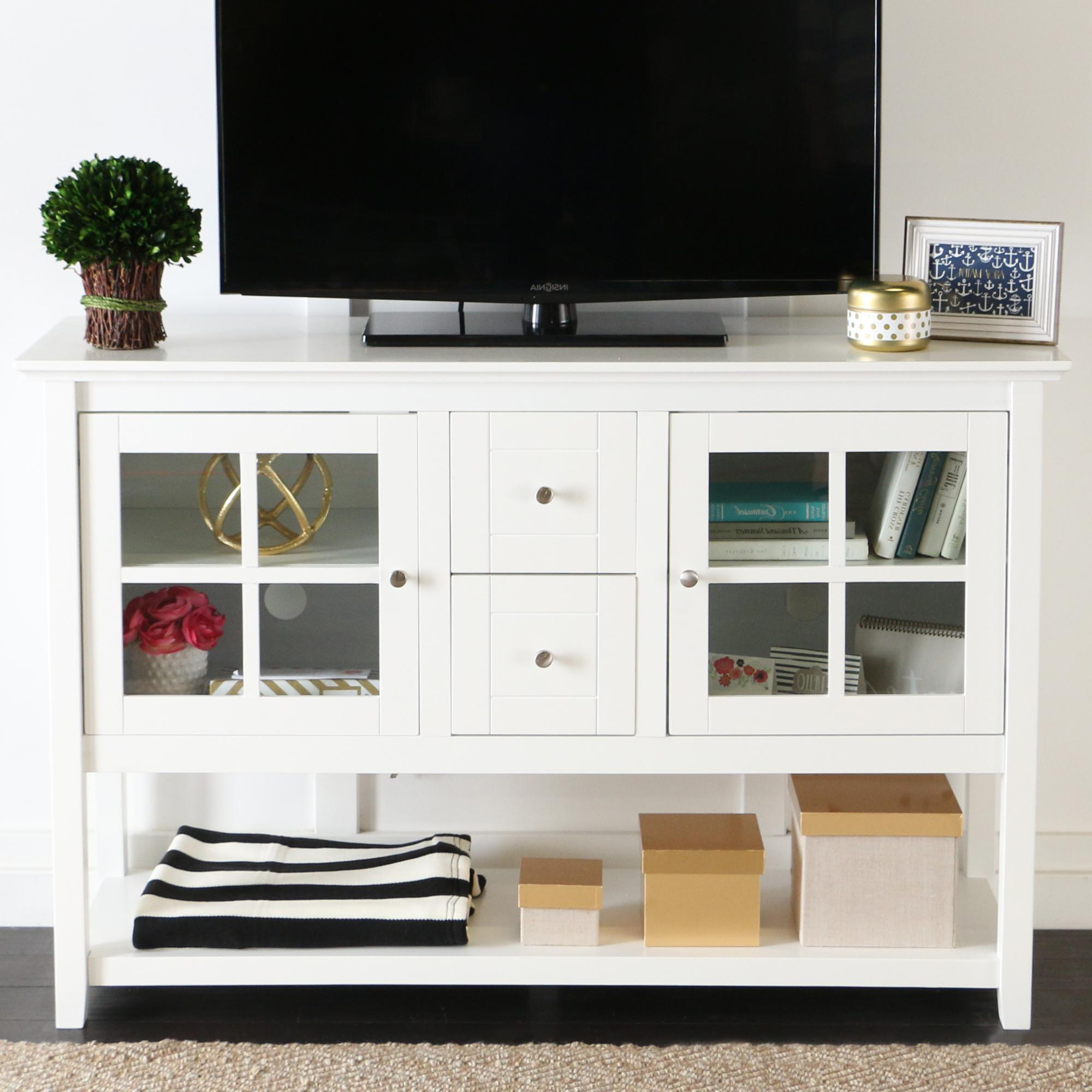 "White And Wood Tv Stands Within Popular Amazon: We Furniture 52"" Console Table Wood Tv Stand Console (View 20 of 20)"