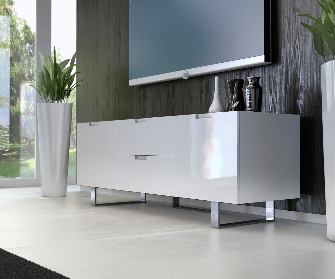 White Contemporary Tv Stands Inside 2018 Contemporary Tv Stand In Wenge Walnut Or White Lacquer San Diego (View 3 of 20)