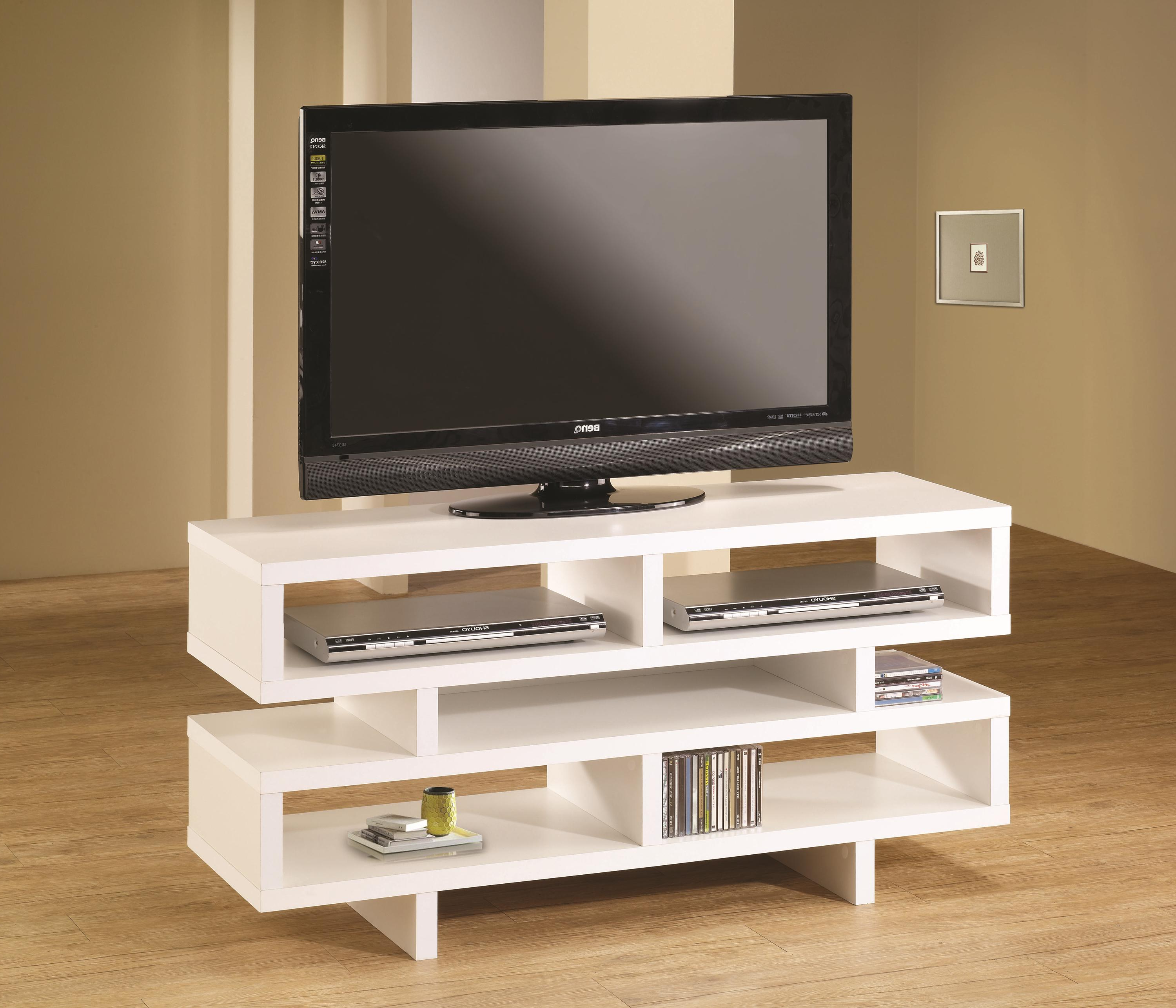 White Contemporary Tv Stands Intended For Most Up To Date Coaster Tv Stands Contemporary Tv Console With Open Storage & White (View 18 of 20)