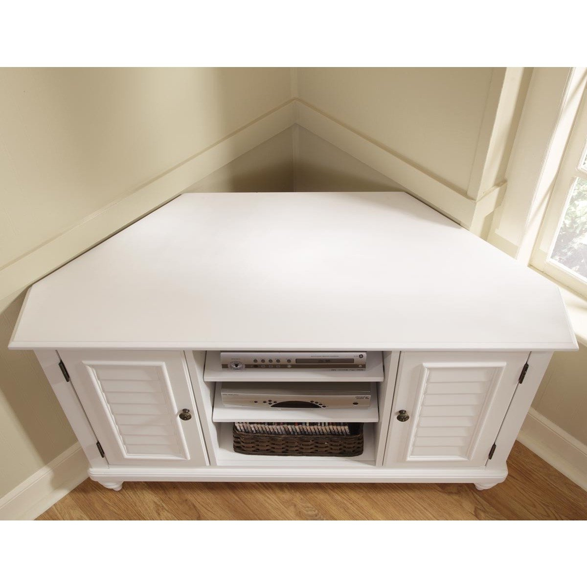 White Corner Tv Cabinets For Current Shop Bermuda Brushed White Corner Tv Standhome Styles – Free (View 16 of 20)