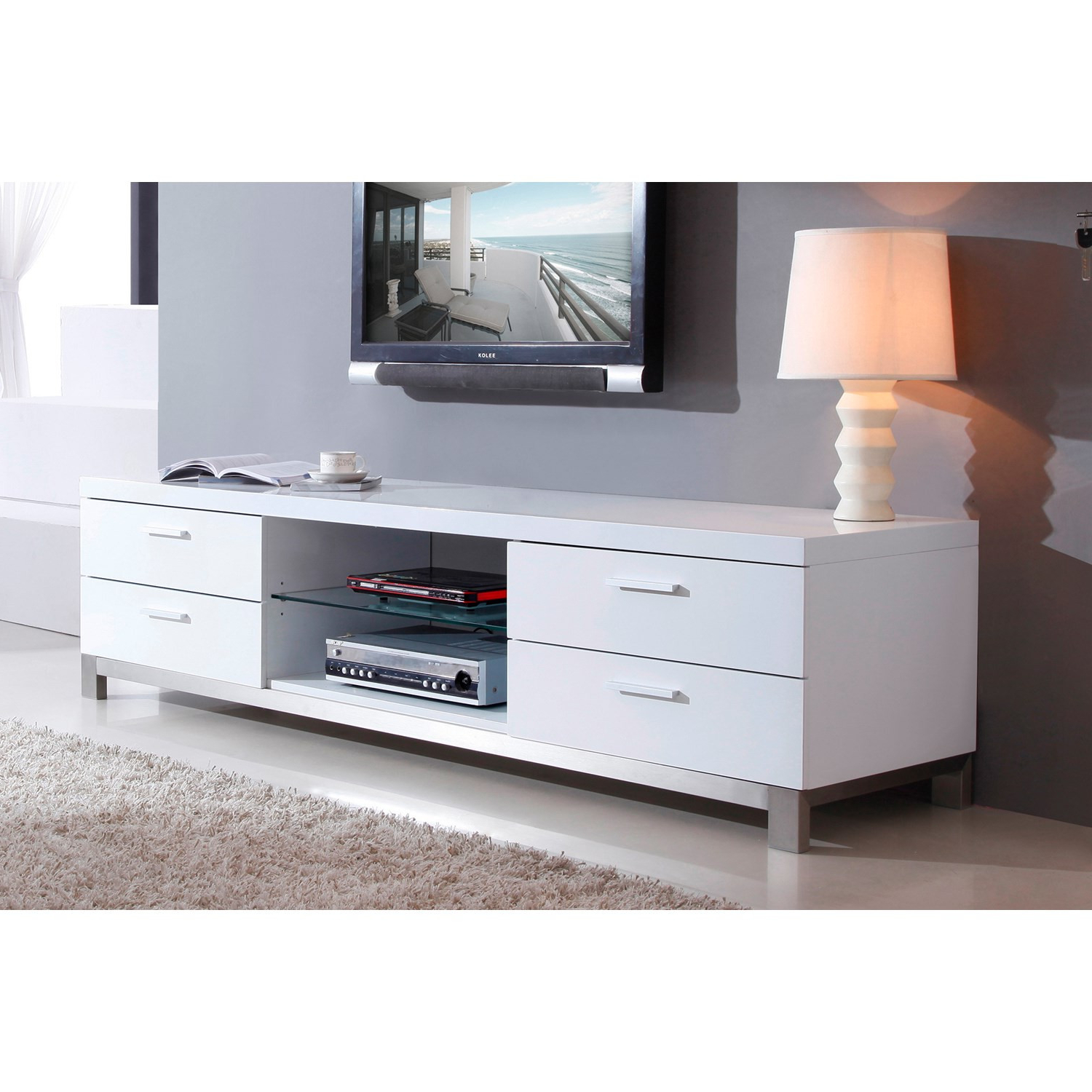 White Corner Tv Stand With Mirrored Cabinet Door And Single Ample For Most Current White Gloss Corner Tv Stands (View 12 of 20)