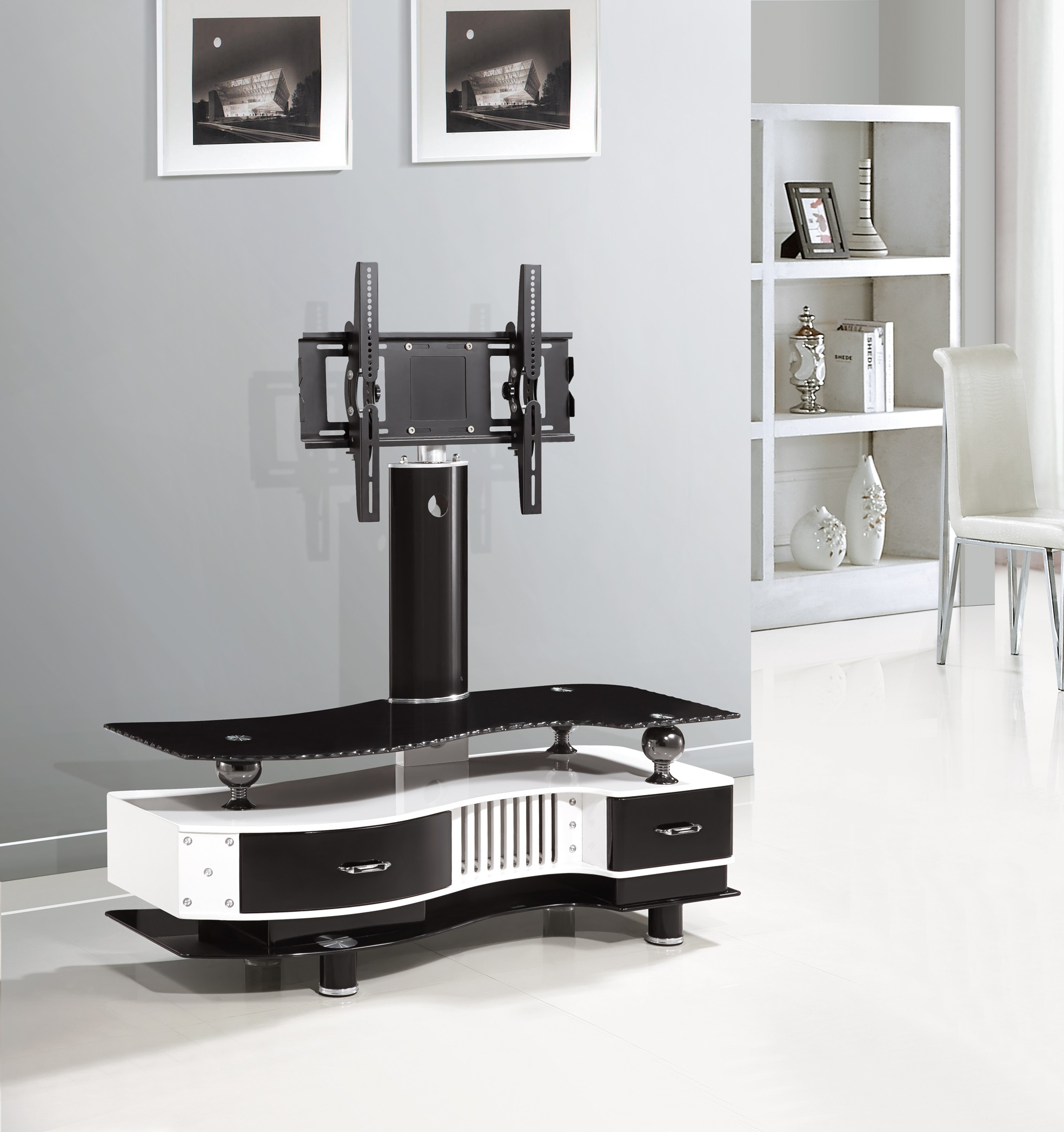 White Glass Tv Stands Inside Favorite Ts 1555 Tv Stand Black & White – Tv Stands – Products (View 16 of 20)