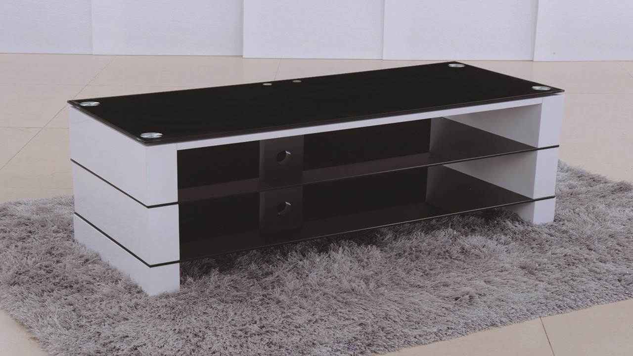 White Glass Tv Stands Throughout Well Known Tv Stand In White High Gloss Black Glass – Homegenies (View 19 of 20)