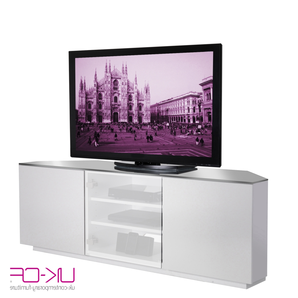White Glass Tv Stands With Regard To Most Recent Milan White Gloss Corner T (View 20 of 20)