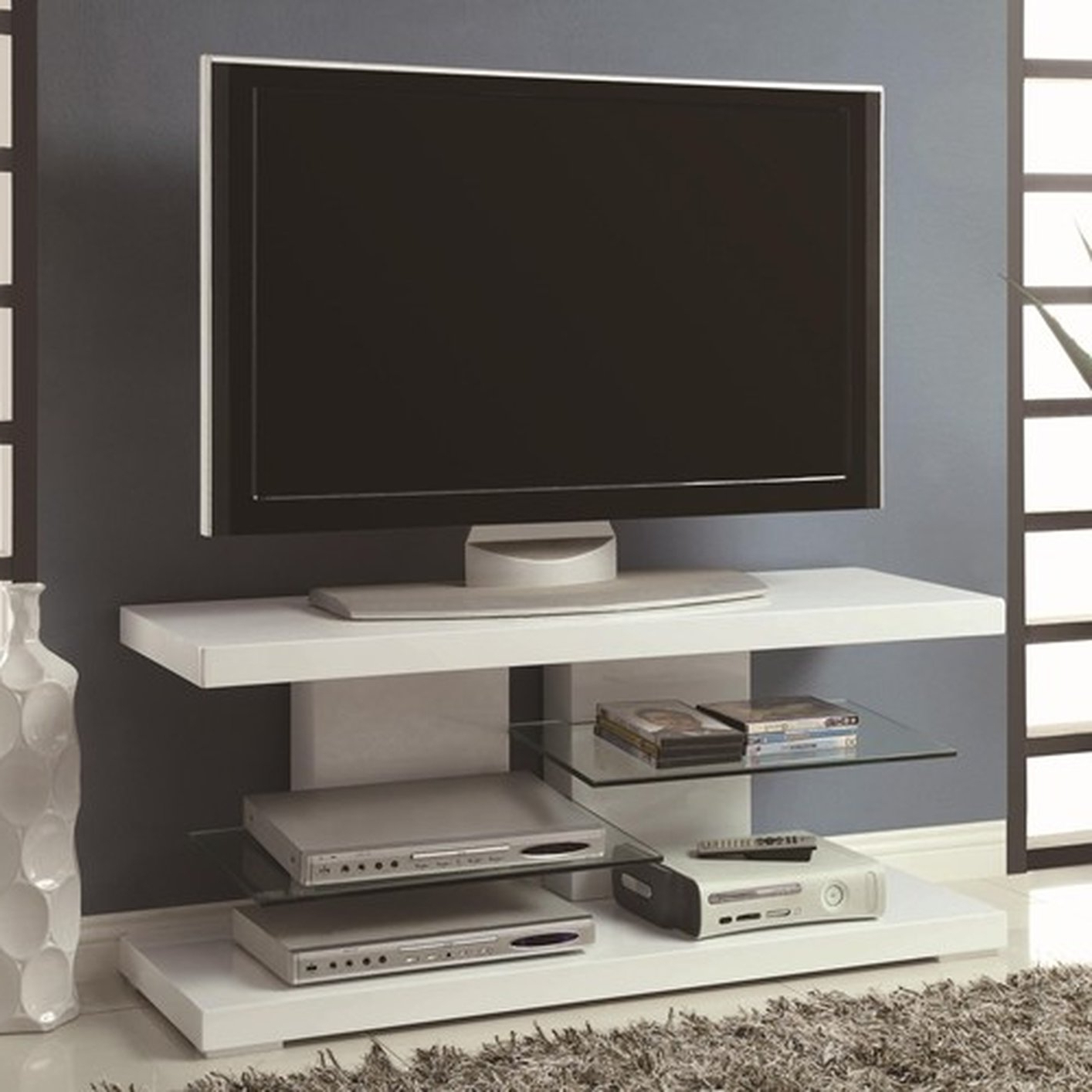 White Gloss Corner Tv Stands In Most Current Tv Stands And Entertainment Centers : Samsung Tv Stand White High (View 13 of 20)