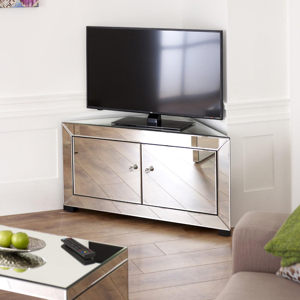 White Gloss Corner Tv Stands Pertaining To Well Known White Mirrored Tv Stand Cabinet Living Room Furniture – Buyouapp (View 13 of 20)