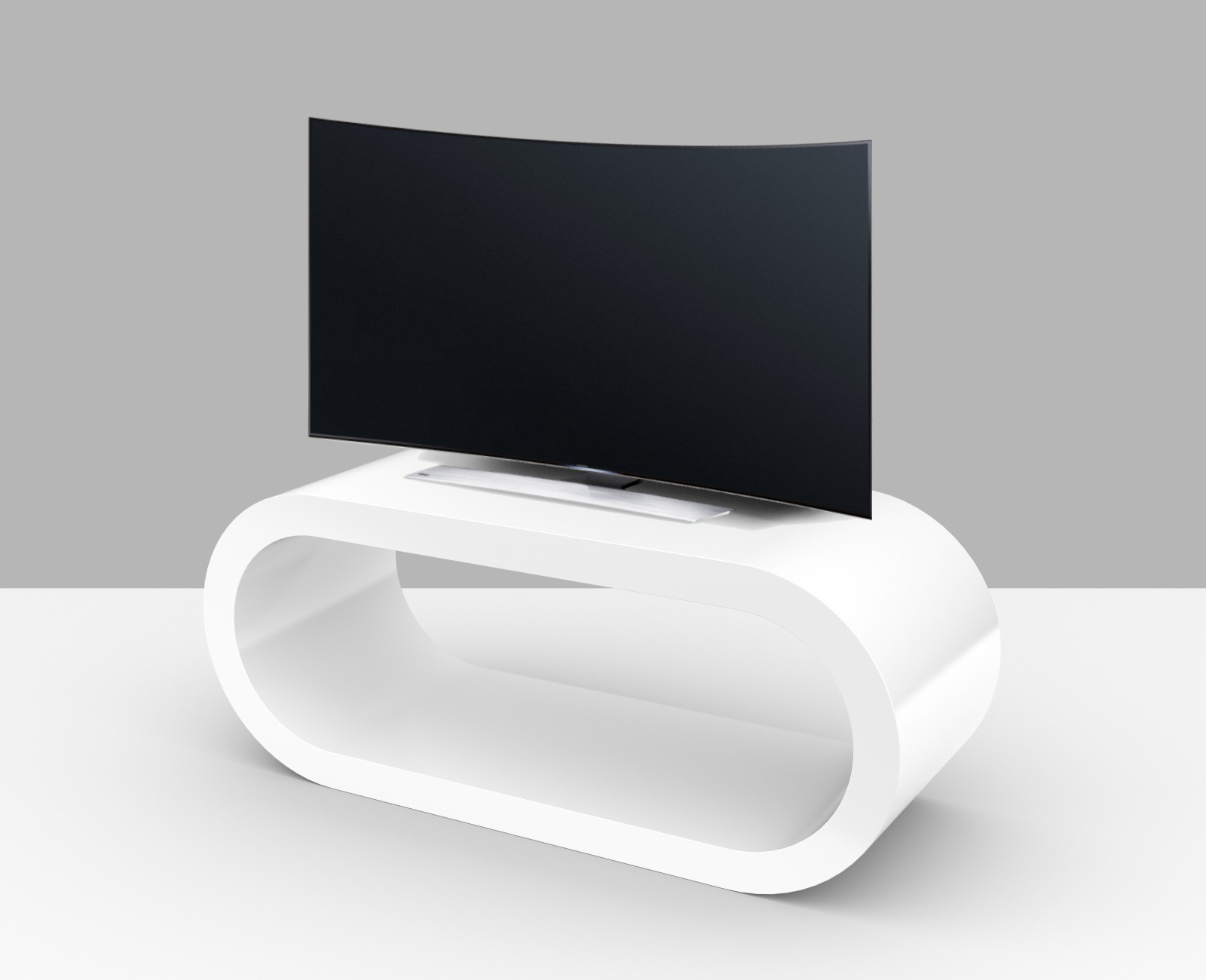 White Gloss Oval Tv Stands Inside Most Current Custom Tv Stands (View 17 of 20)