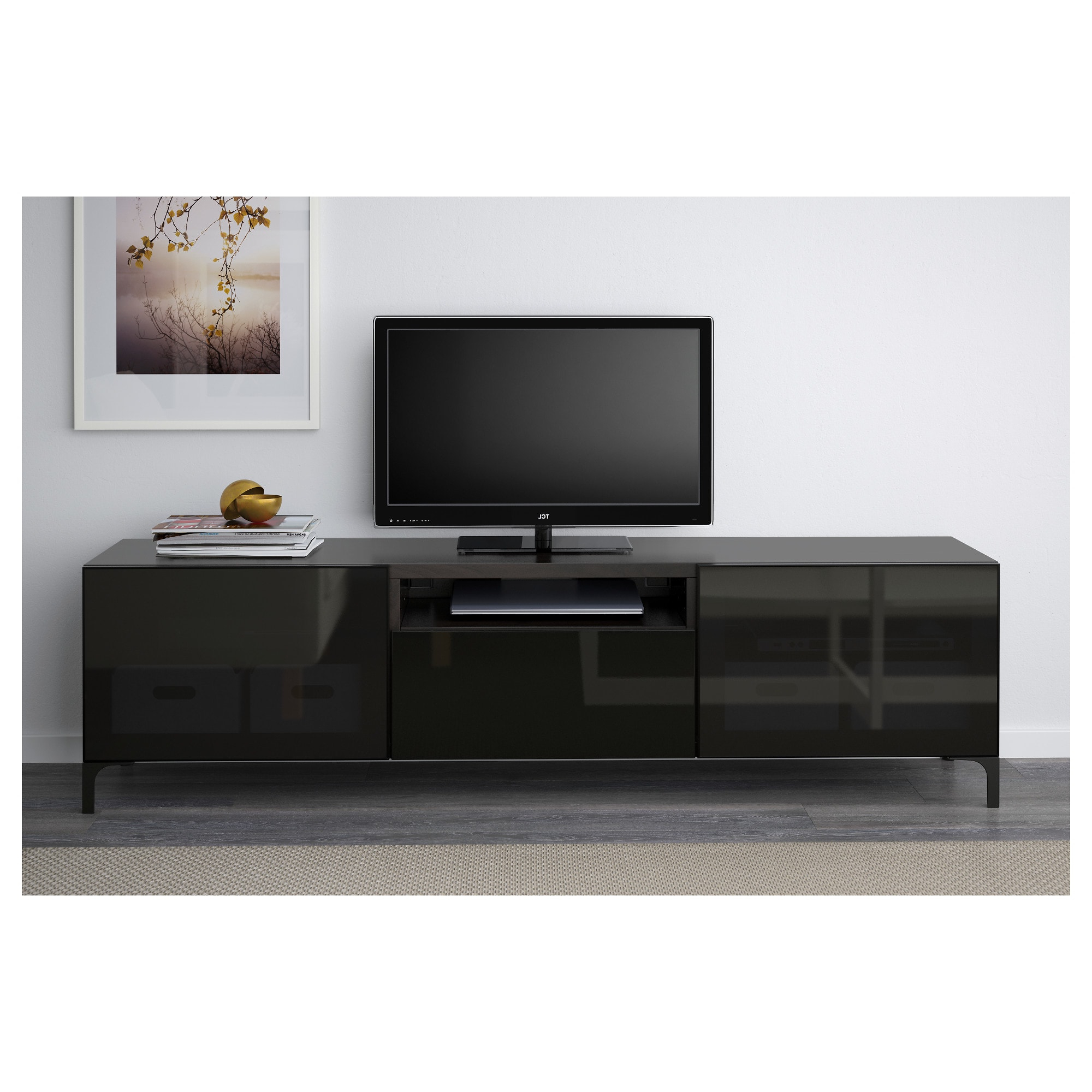 White Gloss Tv Cabinets In Fashionable Bestå Tv Bench Black Brown/selsviken High Gloss/black Smoked Glass (View 14 of 20)