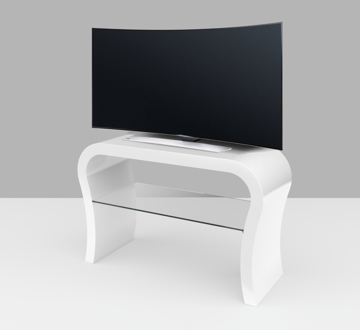 White Gloss Tv Cabinets With Regard To Newest White Gloss Tv Stand – Curved – Zespoke (View 7 of 20)
